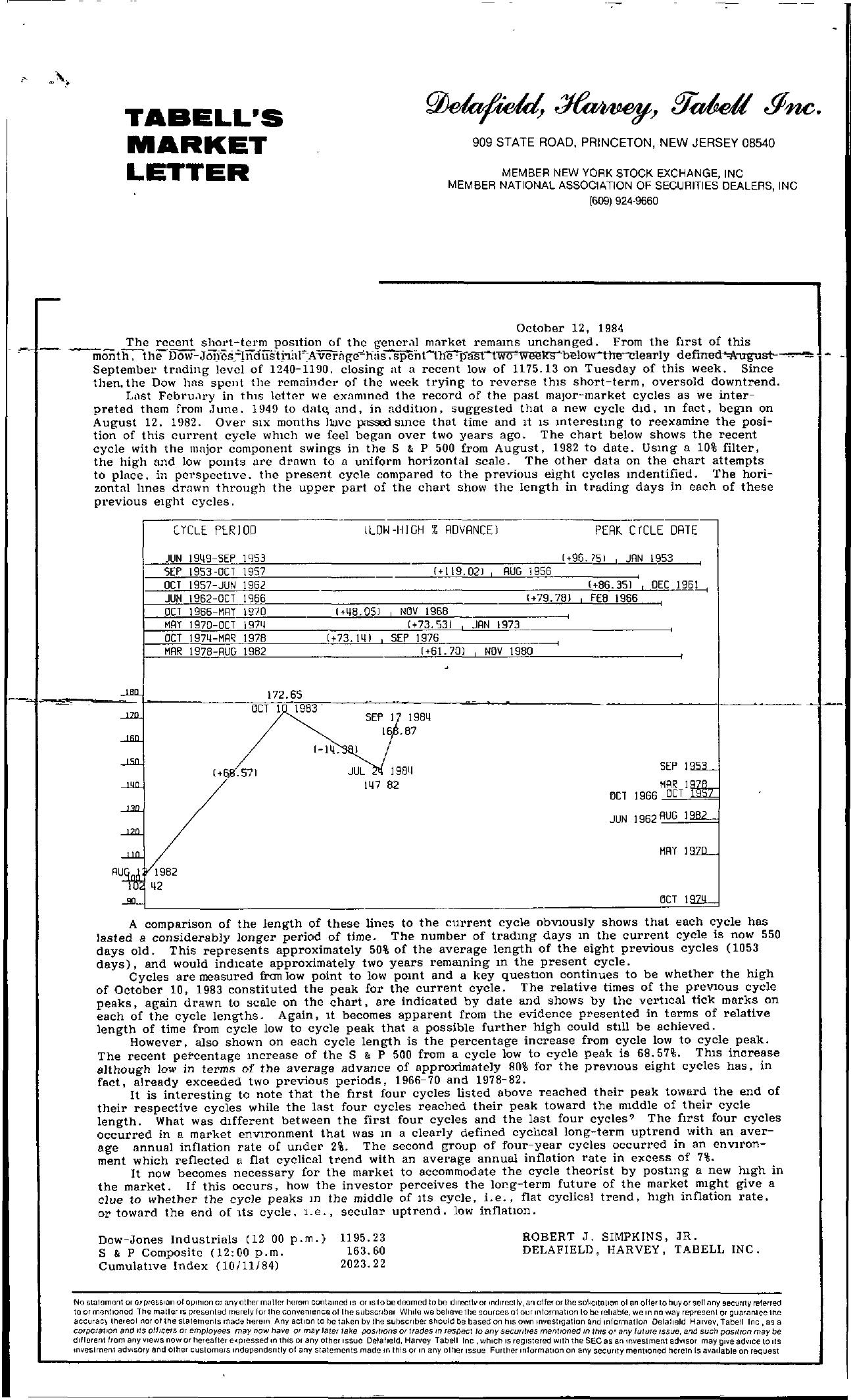 Tabell's Market Letter - October 12, 1984
