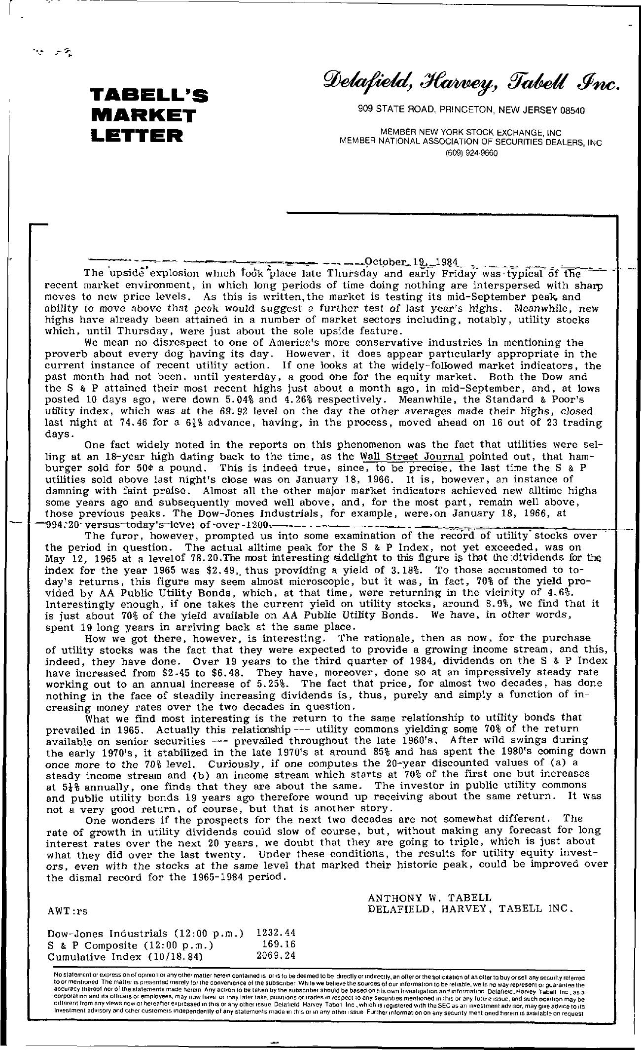 Tabell's Market Letter - October 19, 1984