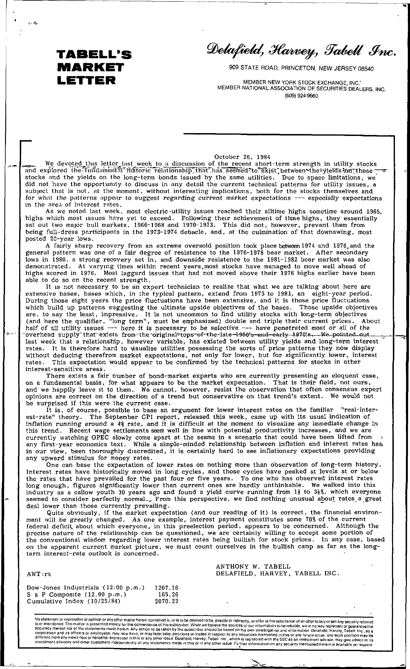 Tabell's Market Letter - October 26, 1984