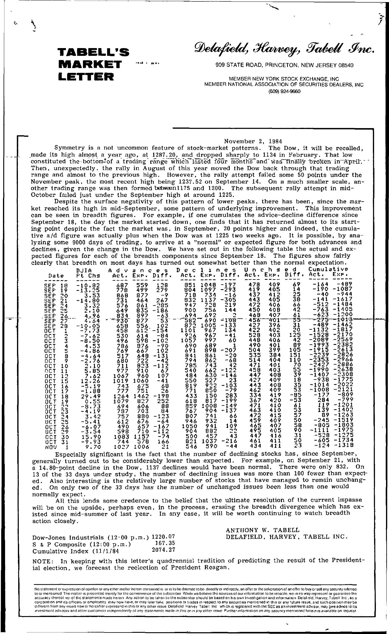 Tabell's Market Letter - November 02, 1984