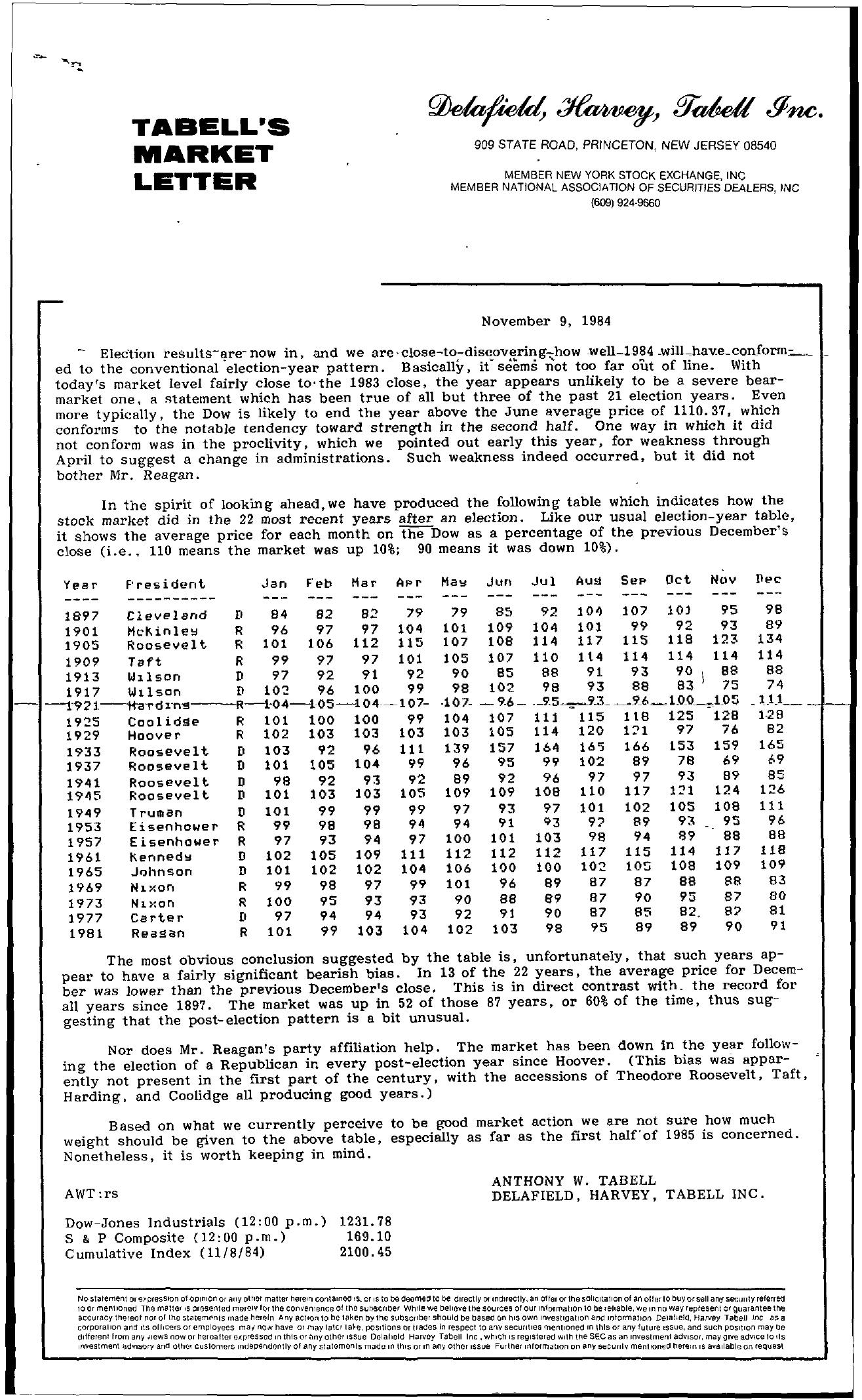 Tabell's Market Letter - November 09, 1984