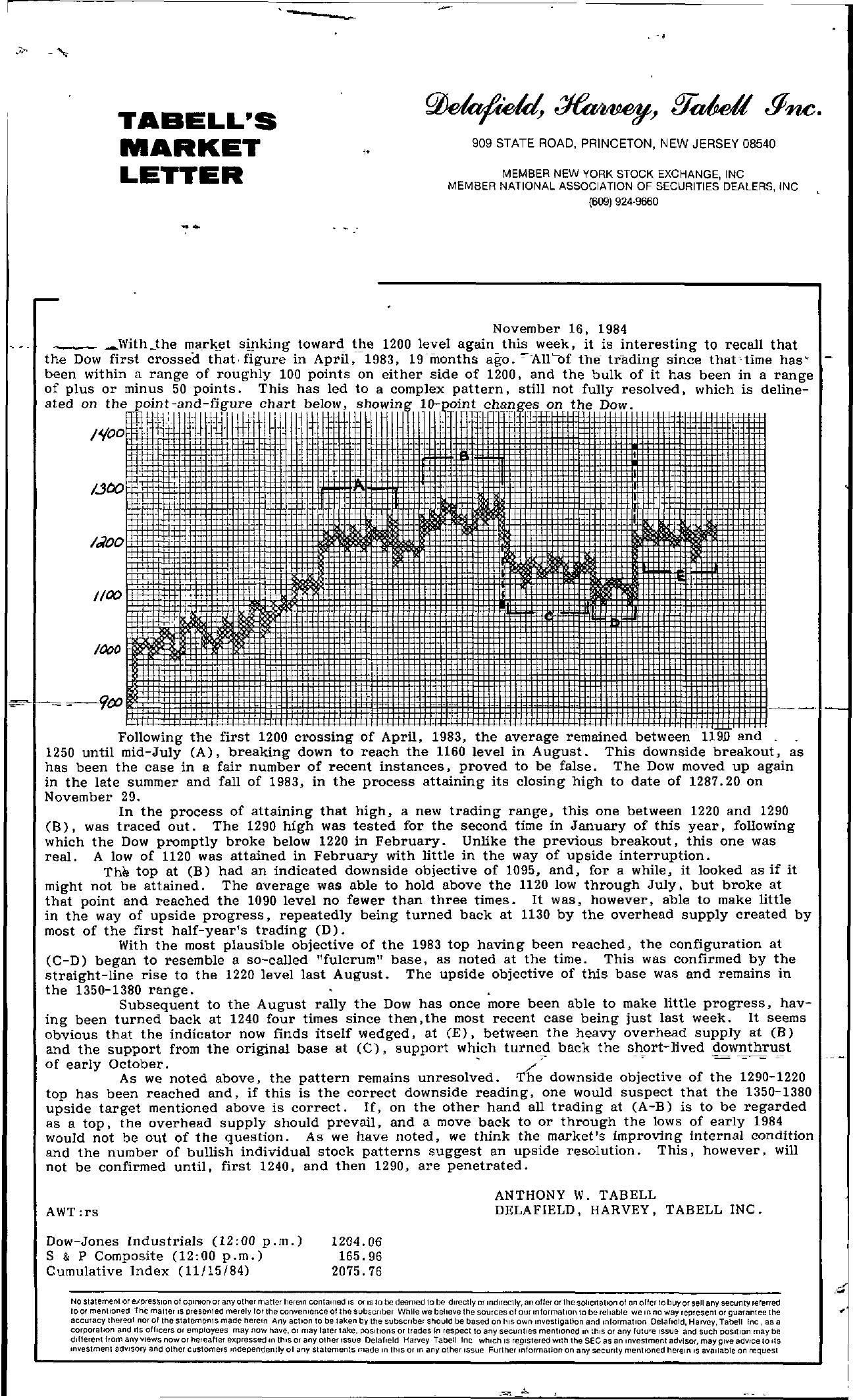 Tabell's Market Letter - November 16, 1984