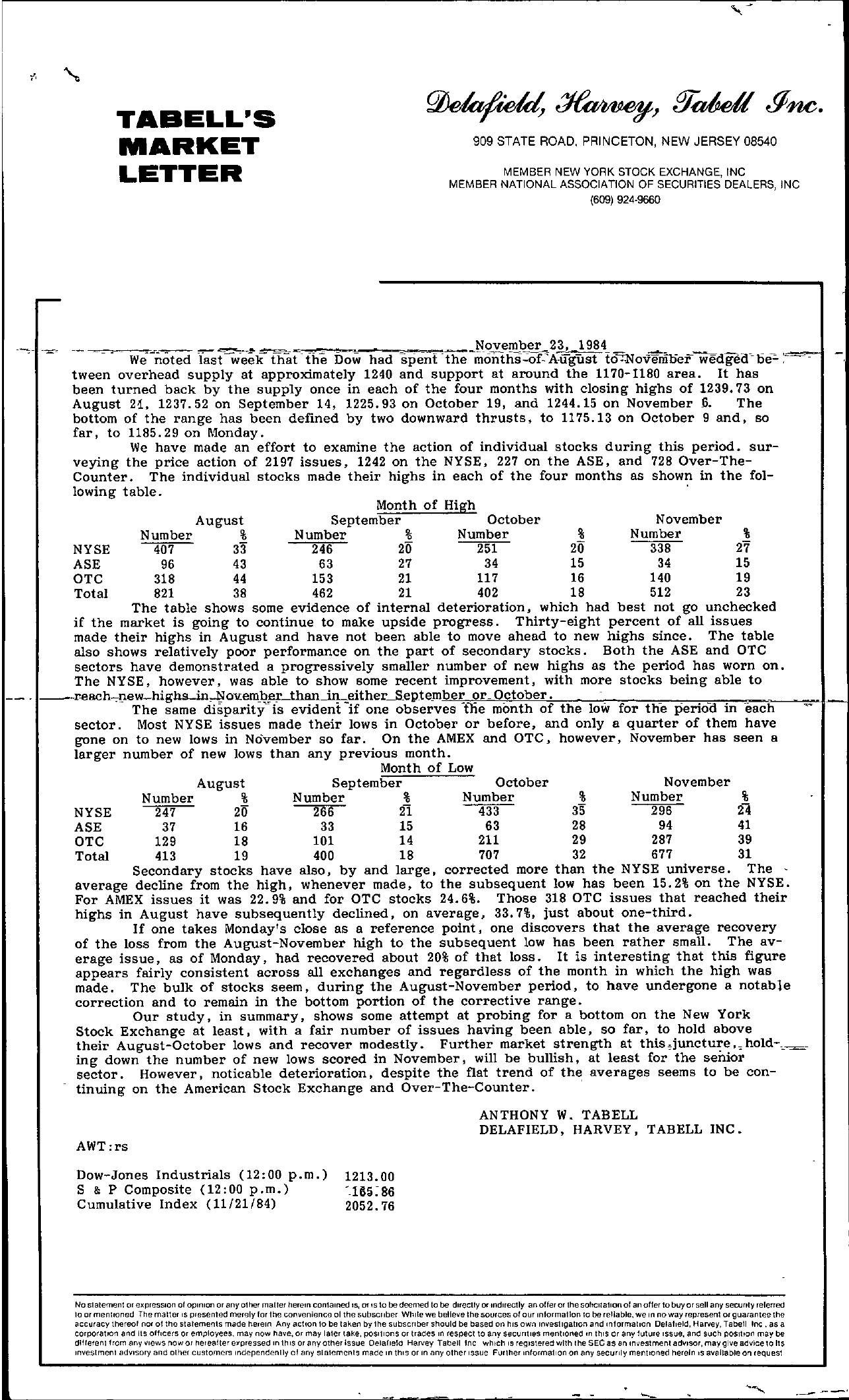 Tabell's Market Letter - November 23, 1984