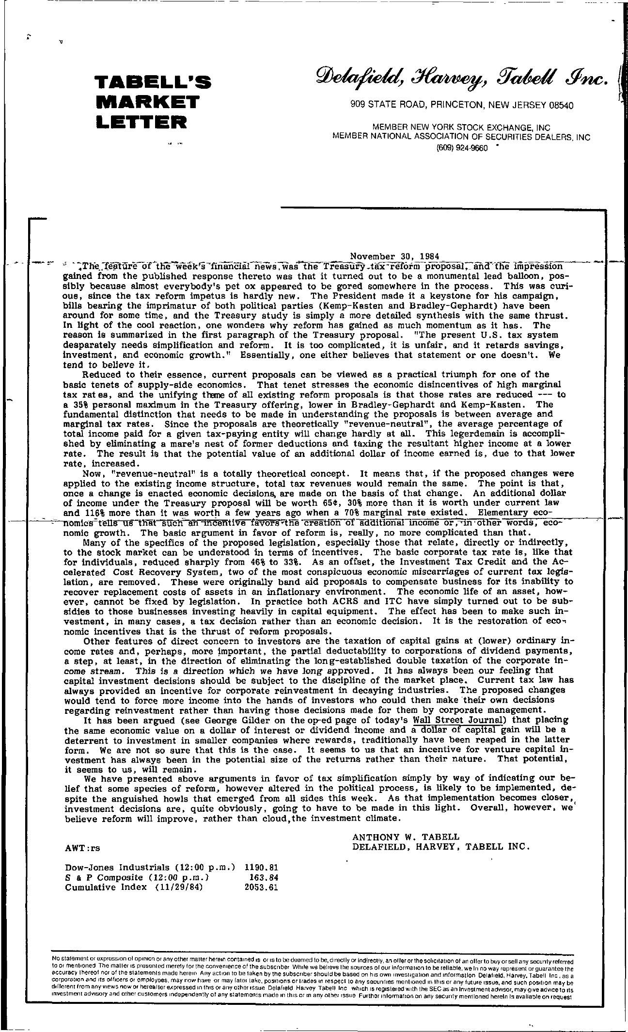 Tabell's Market Letter - November 30, 1984