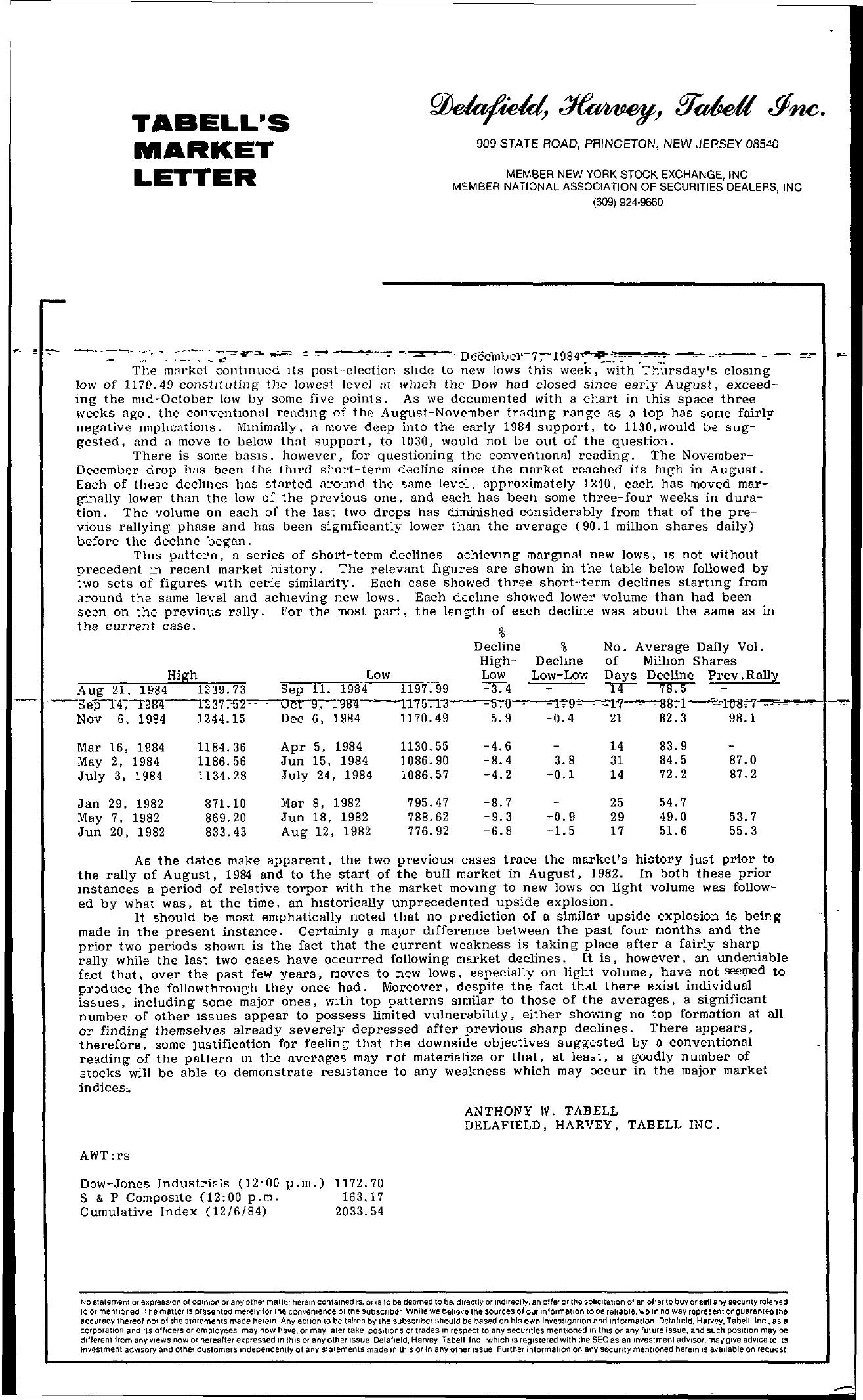 Tabell's Market Letter - December 07, 1984