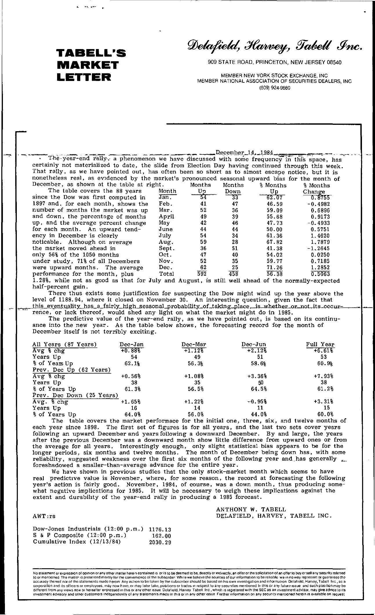 Tabell's Market Letter - December 14, 1984