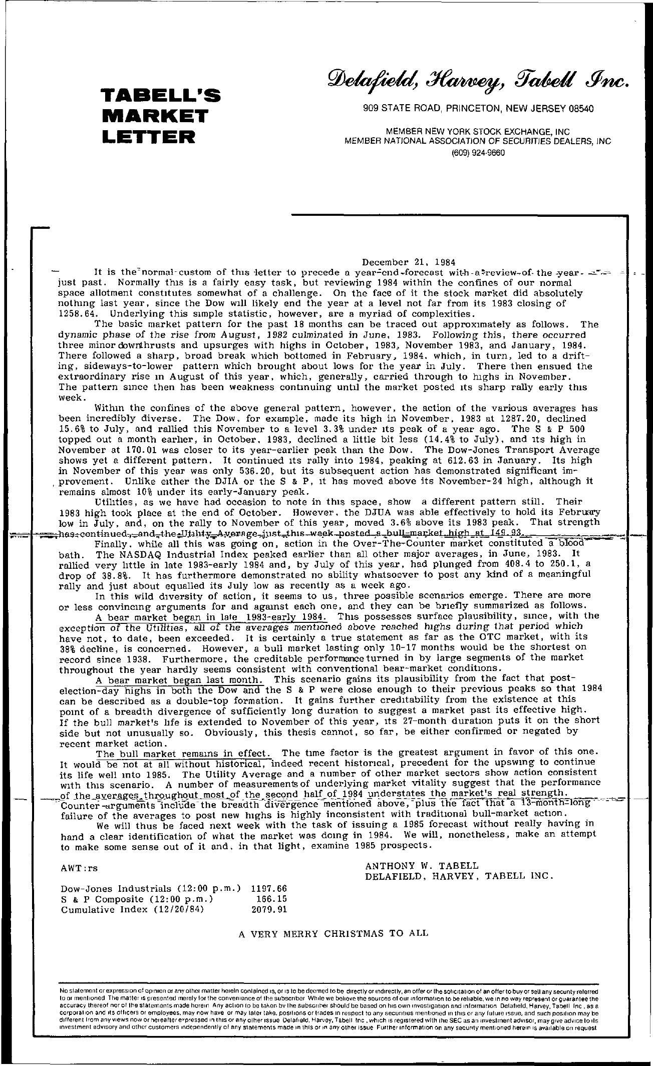 Tabell's Market Letter - December 21, 1984