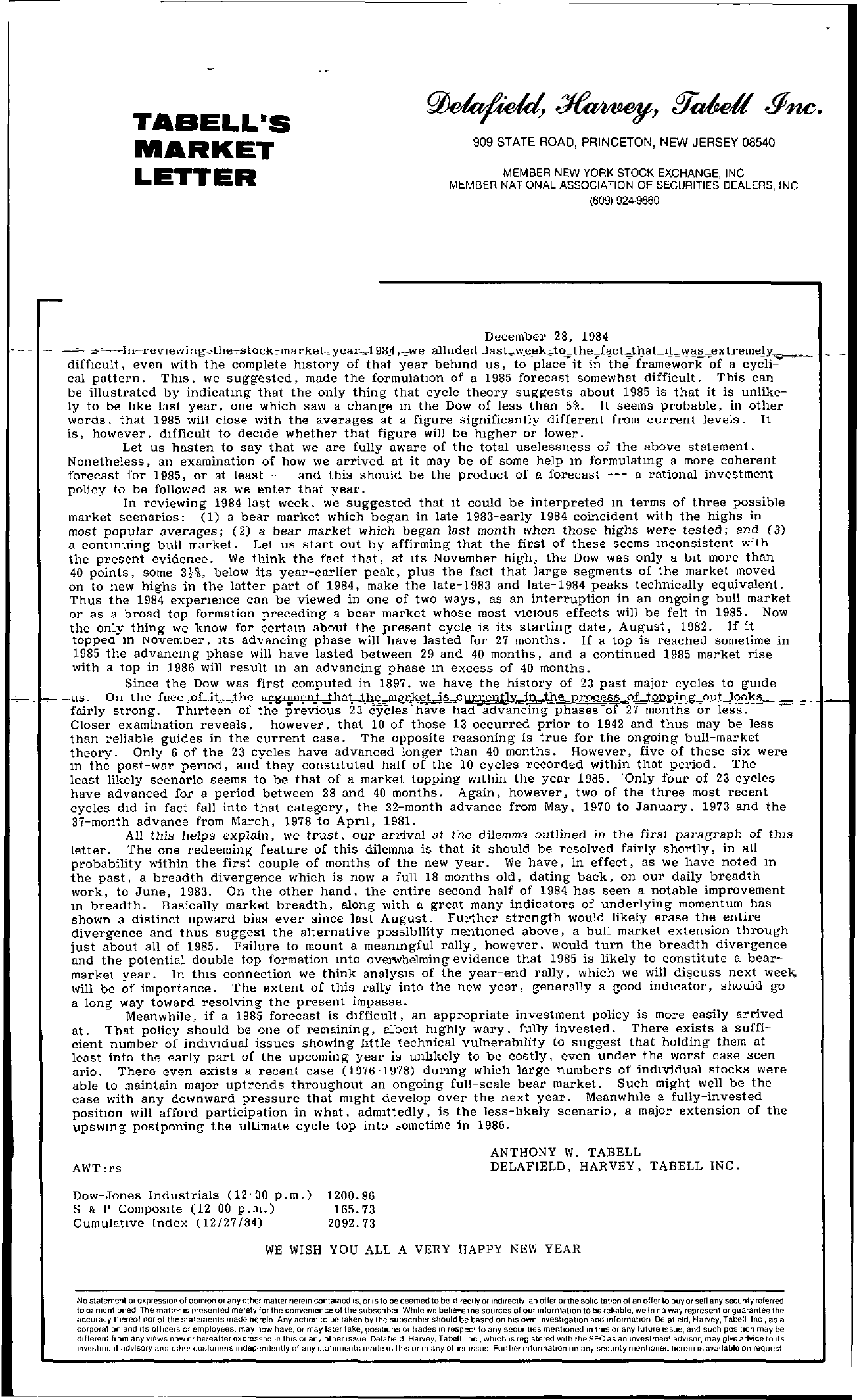 Tabell's Market Letter - December 28, 1984