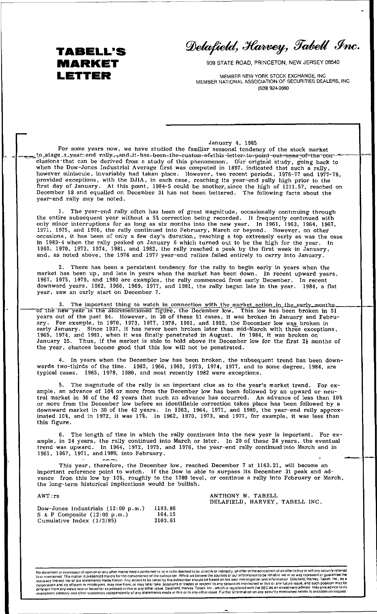 Tabell's Market Letter - January 04, 1985