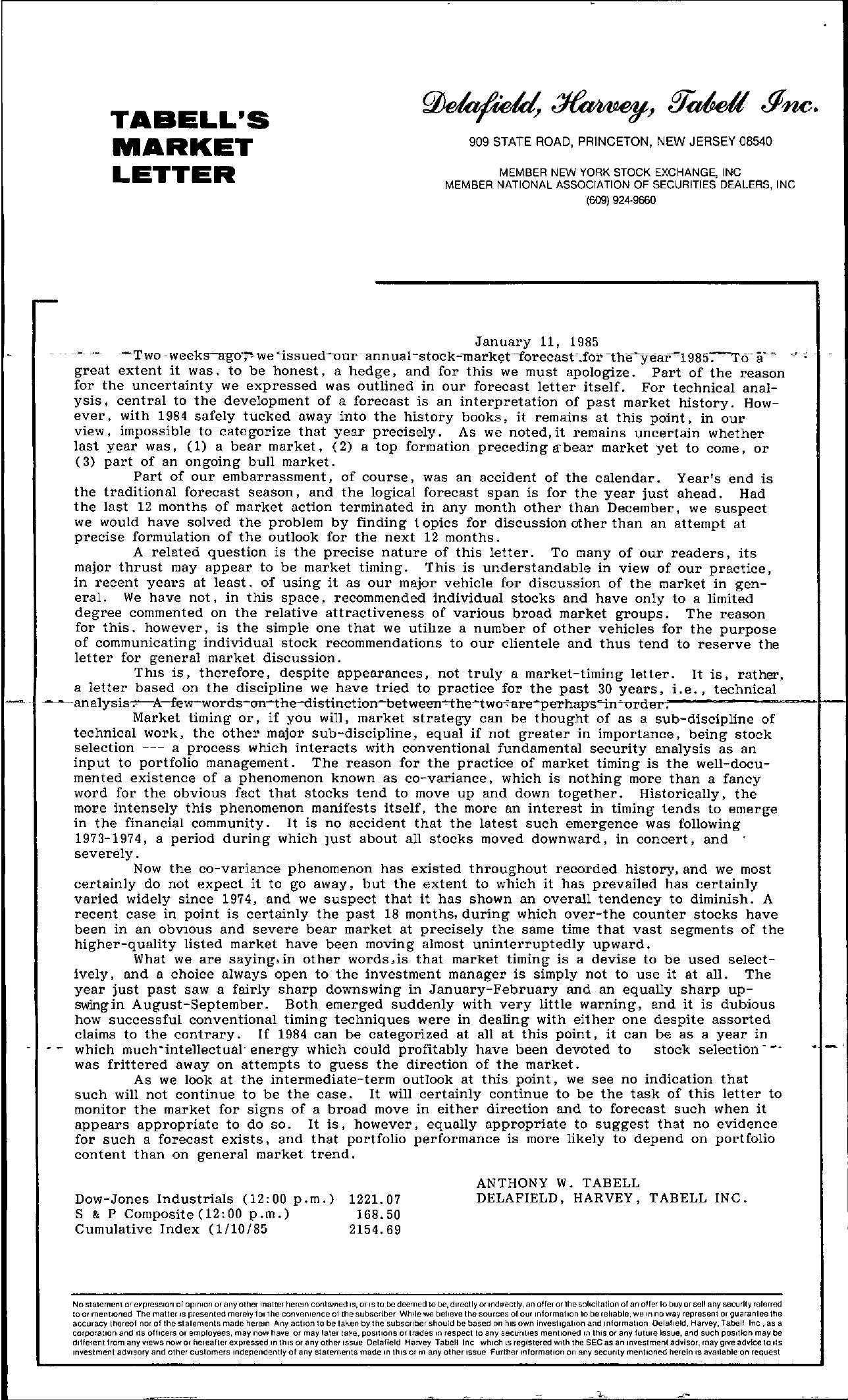 Tabell's Market Letter - January 11, 1985