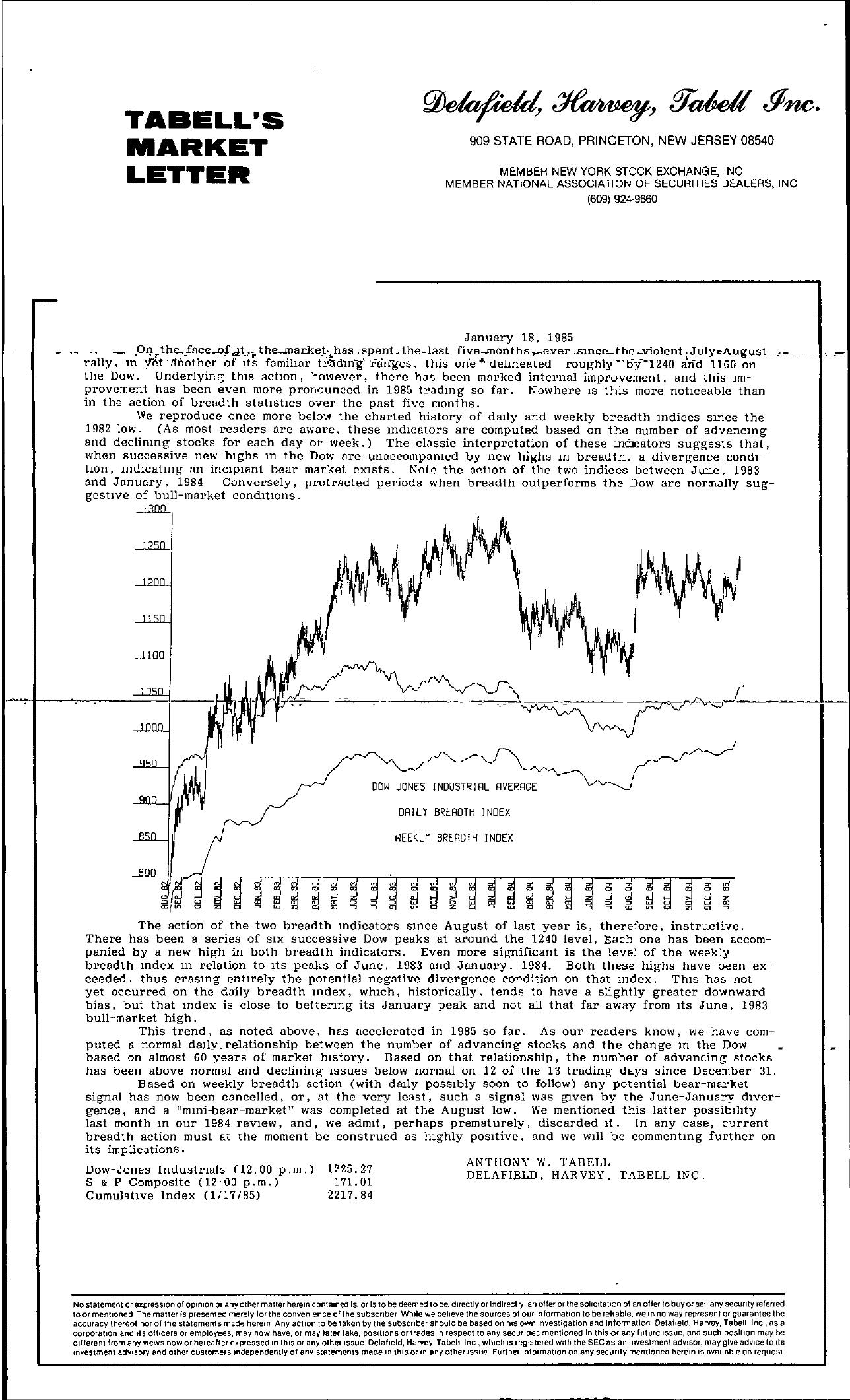 Tabell's Market Letter - January 18, 1985