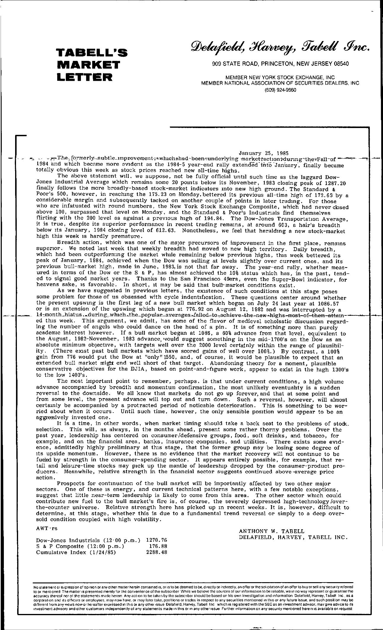 Tabell's Market Letter - January 25, 1985