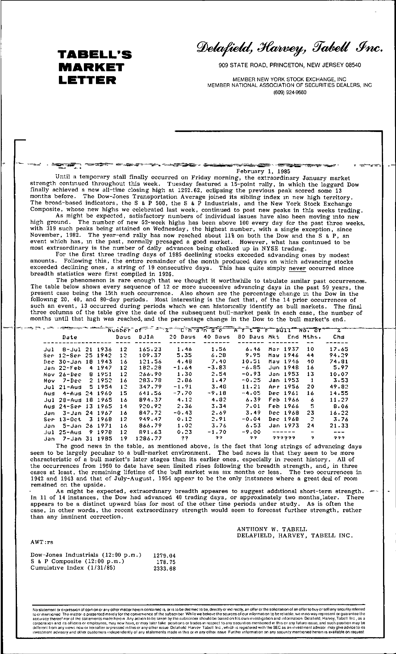 Tabell's Market Letter - February 01, 1985