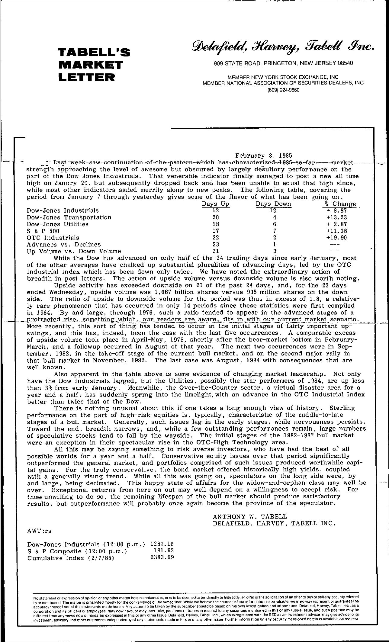 Tabell's Market Letter - February 08, 1985