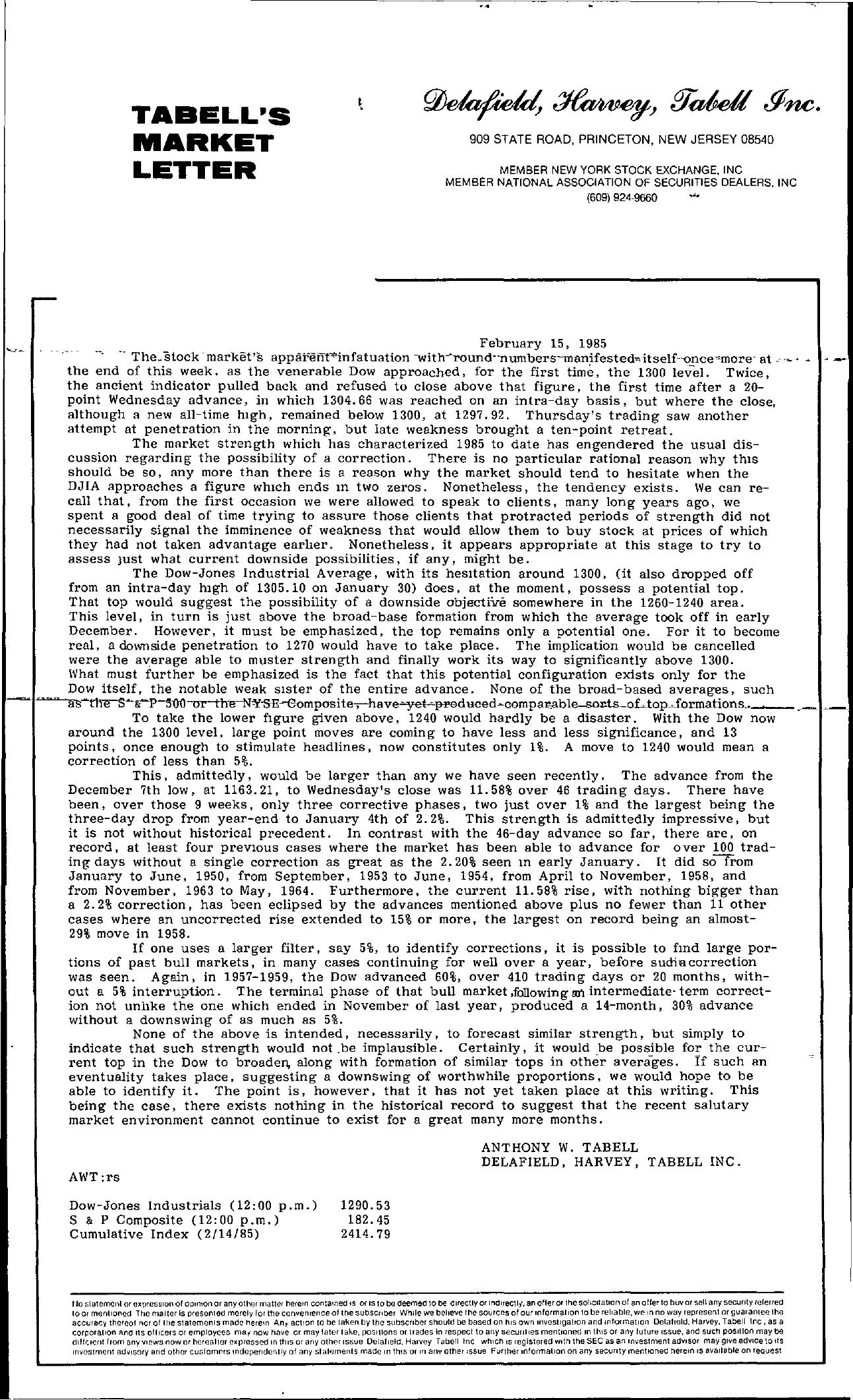 Tabell's Market Letter - February 15, 1985