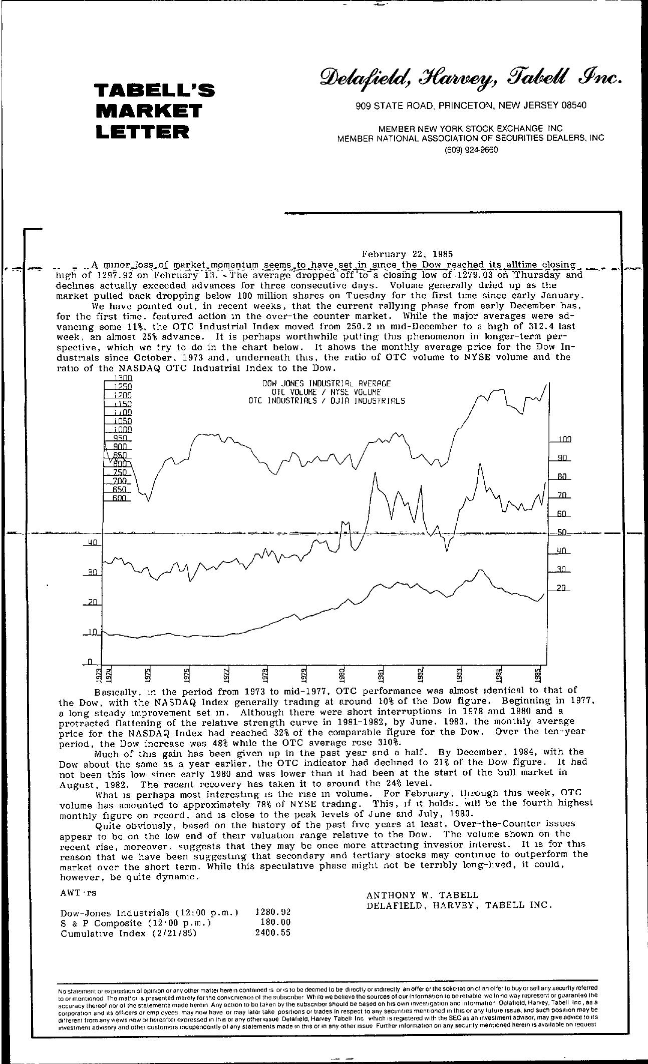 Tabell's Market Letter - February 22, 1985