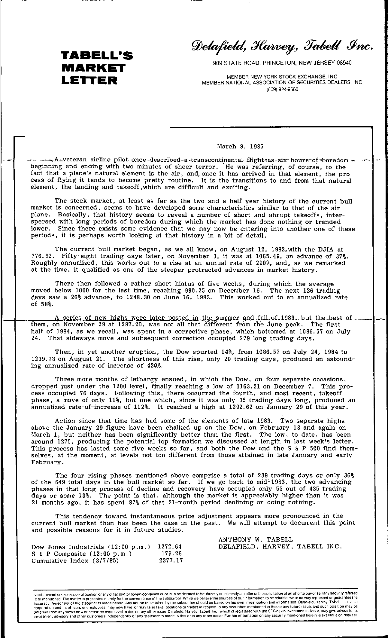 Tabell's Market Letter - March 08, 1985