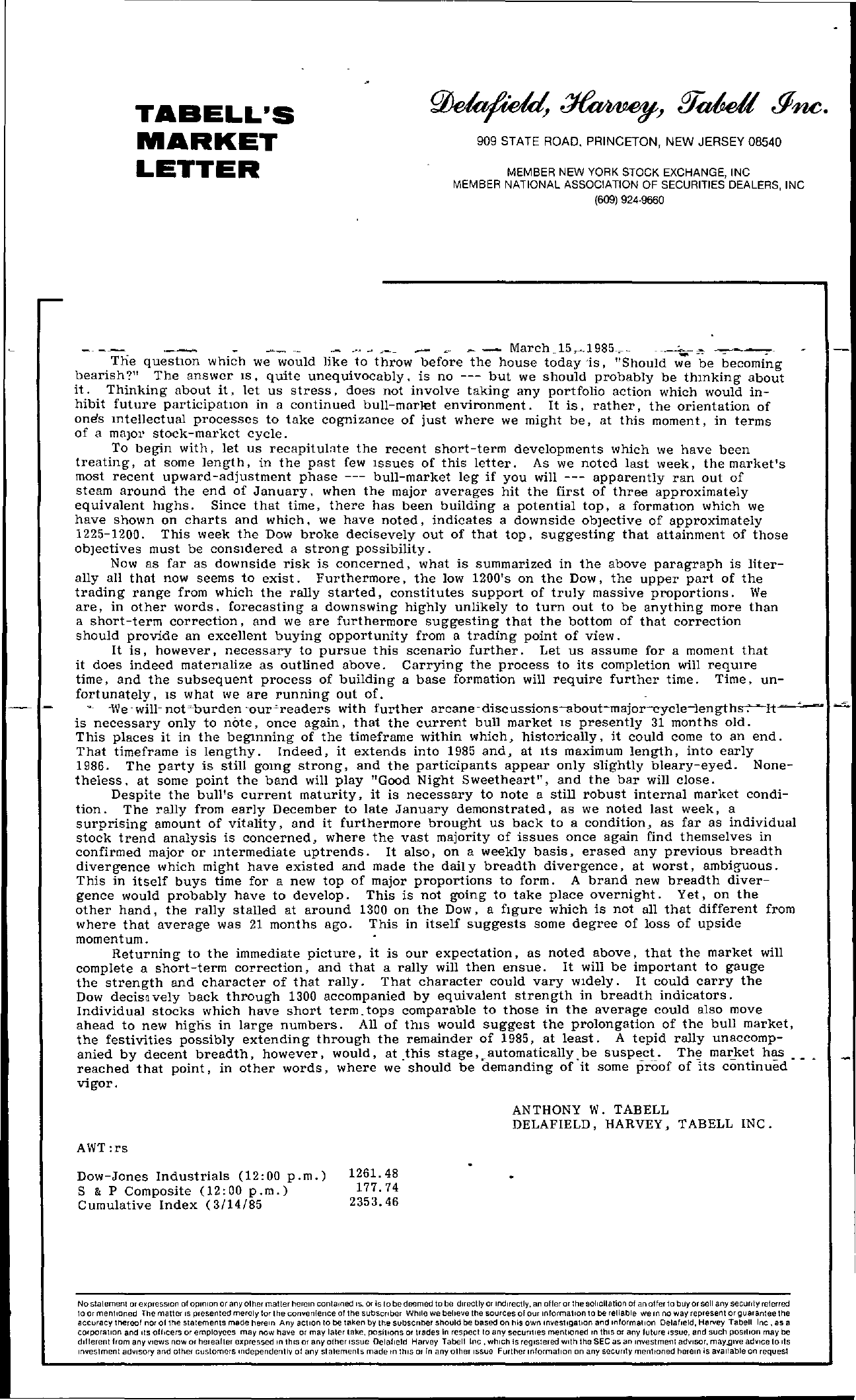 Tabell's Market Letter - March 15, 1985