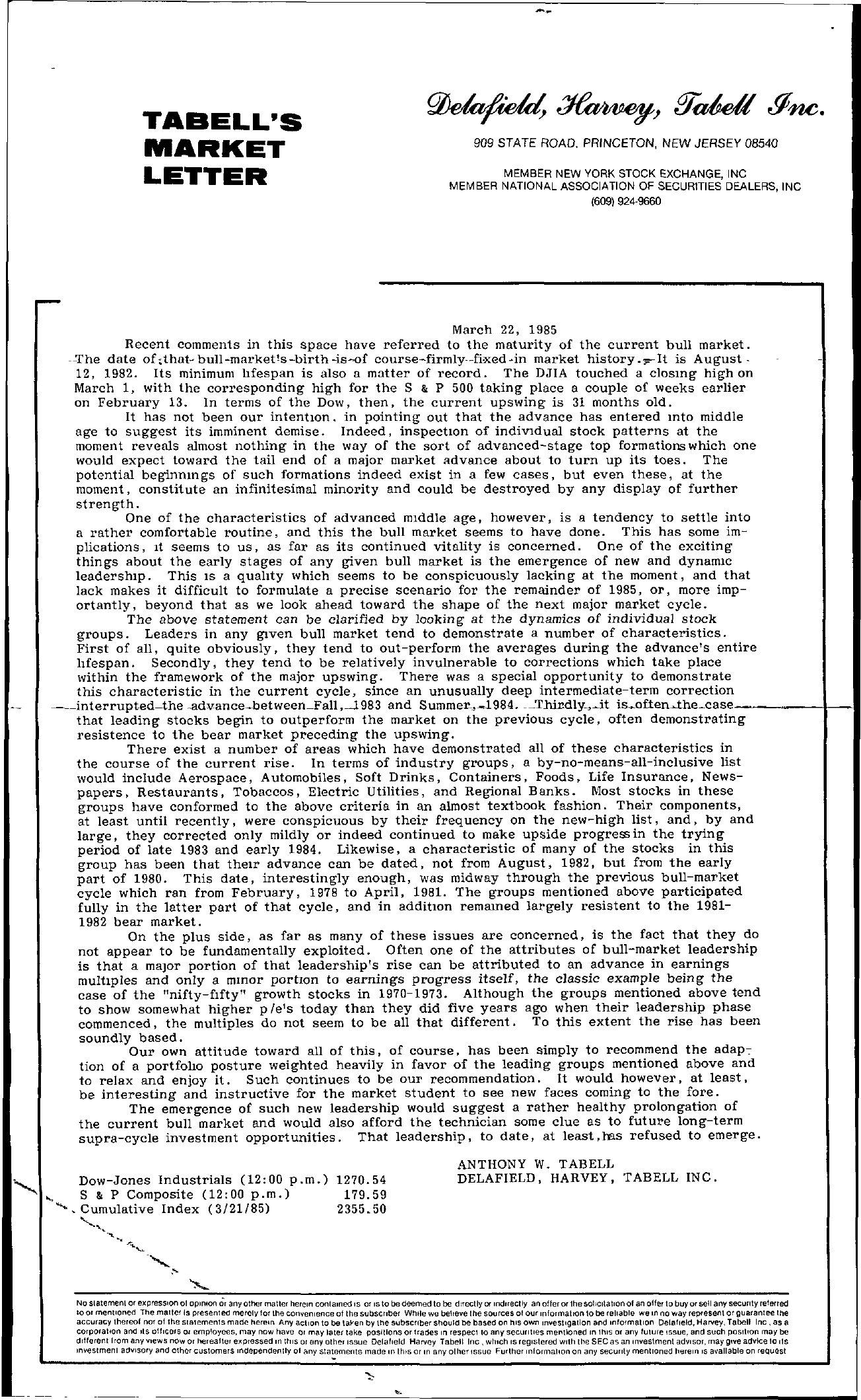 Tabell's Market Letter - March 22, 1985