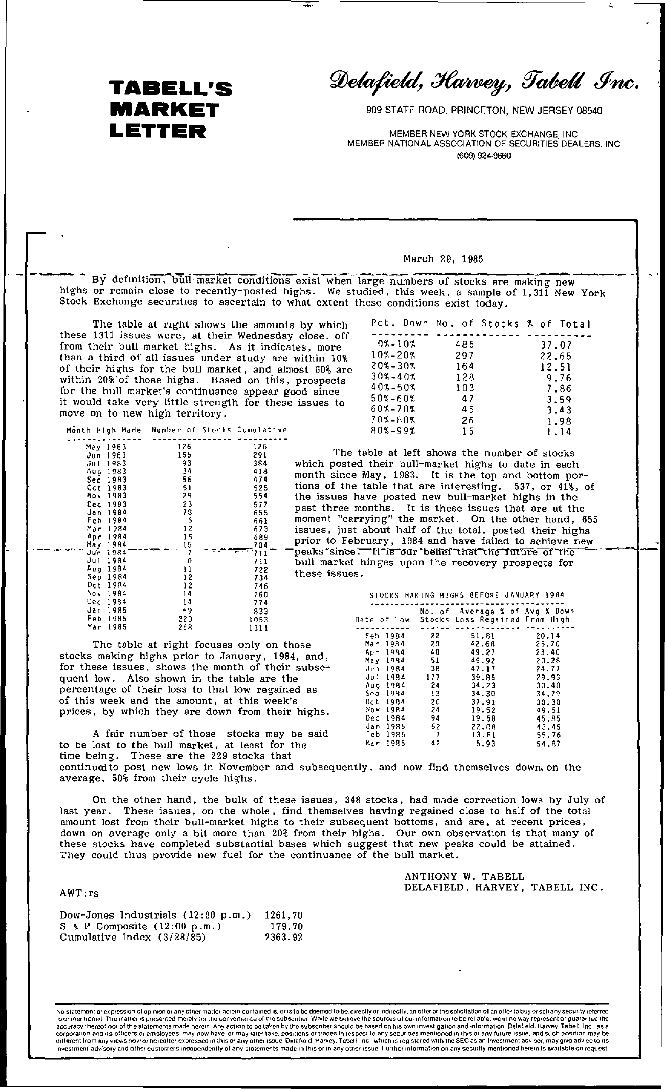 Tabell's Market Letter - March 29, 1985