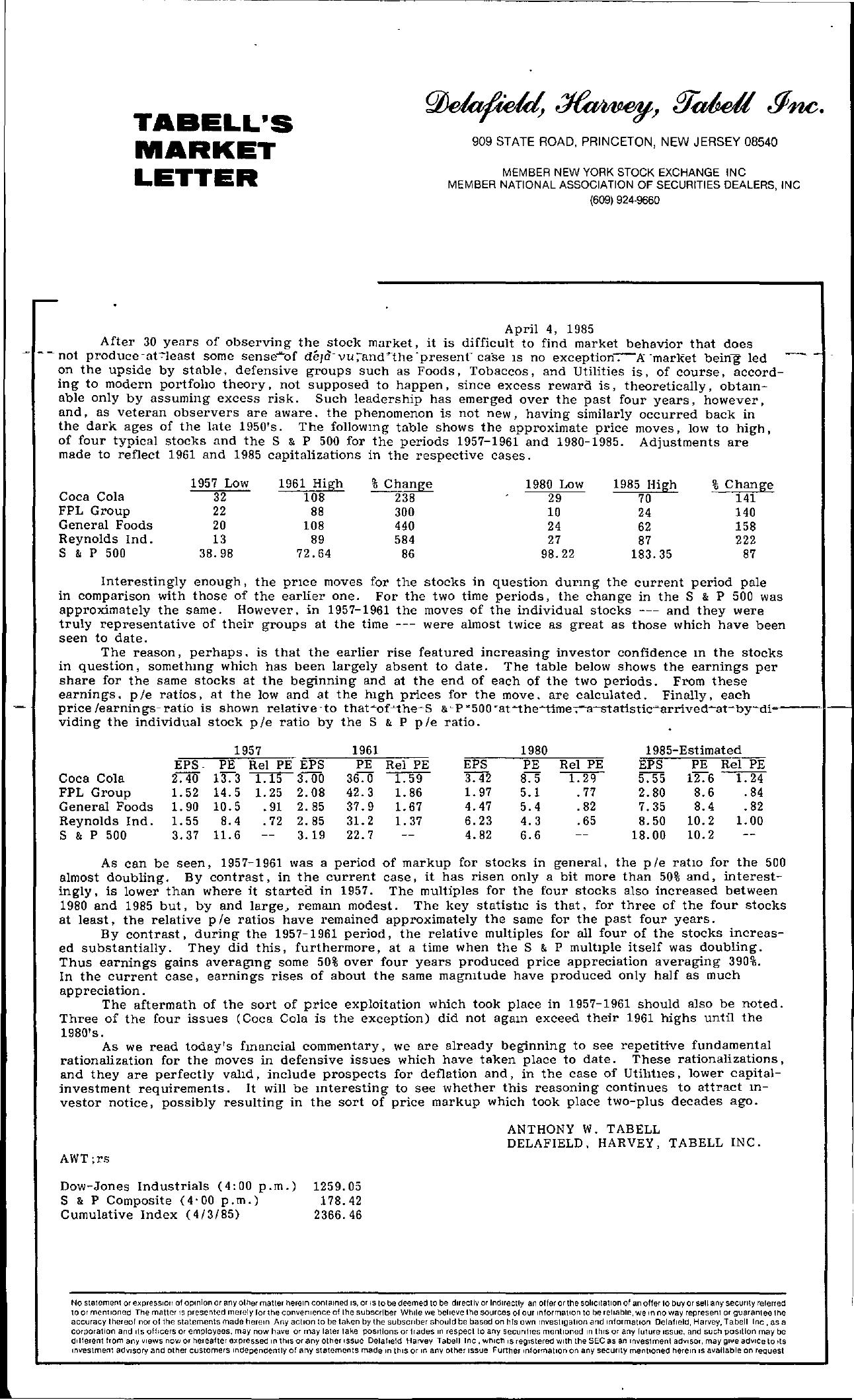 Tabell's Market Letter - April 04, 1985