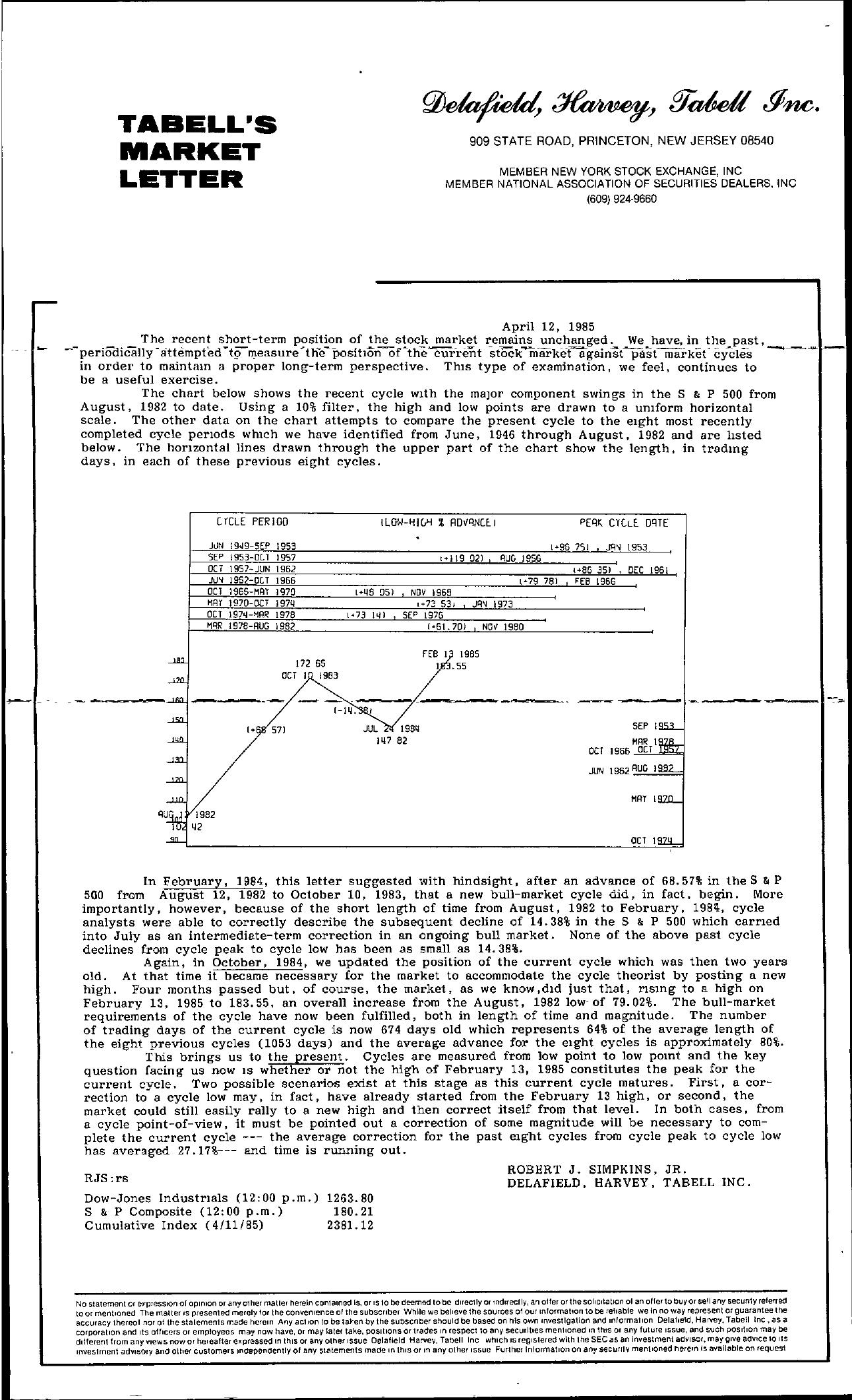 Tabell's Market Letter - April 12, 1985