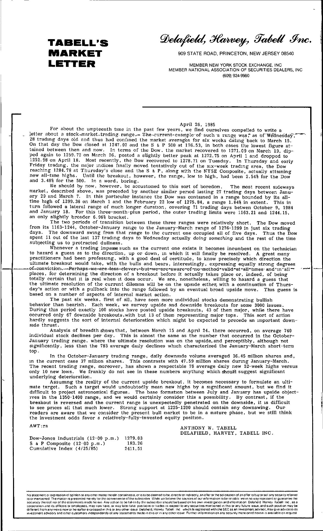Tabell's Market Letter - April 26, 1985