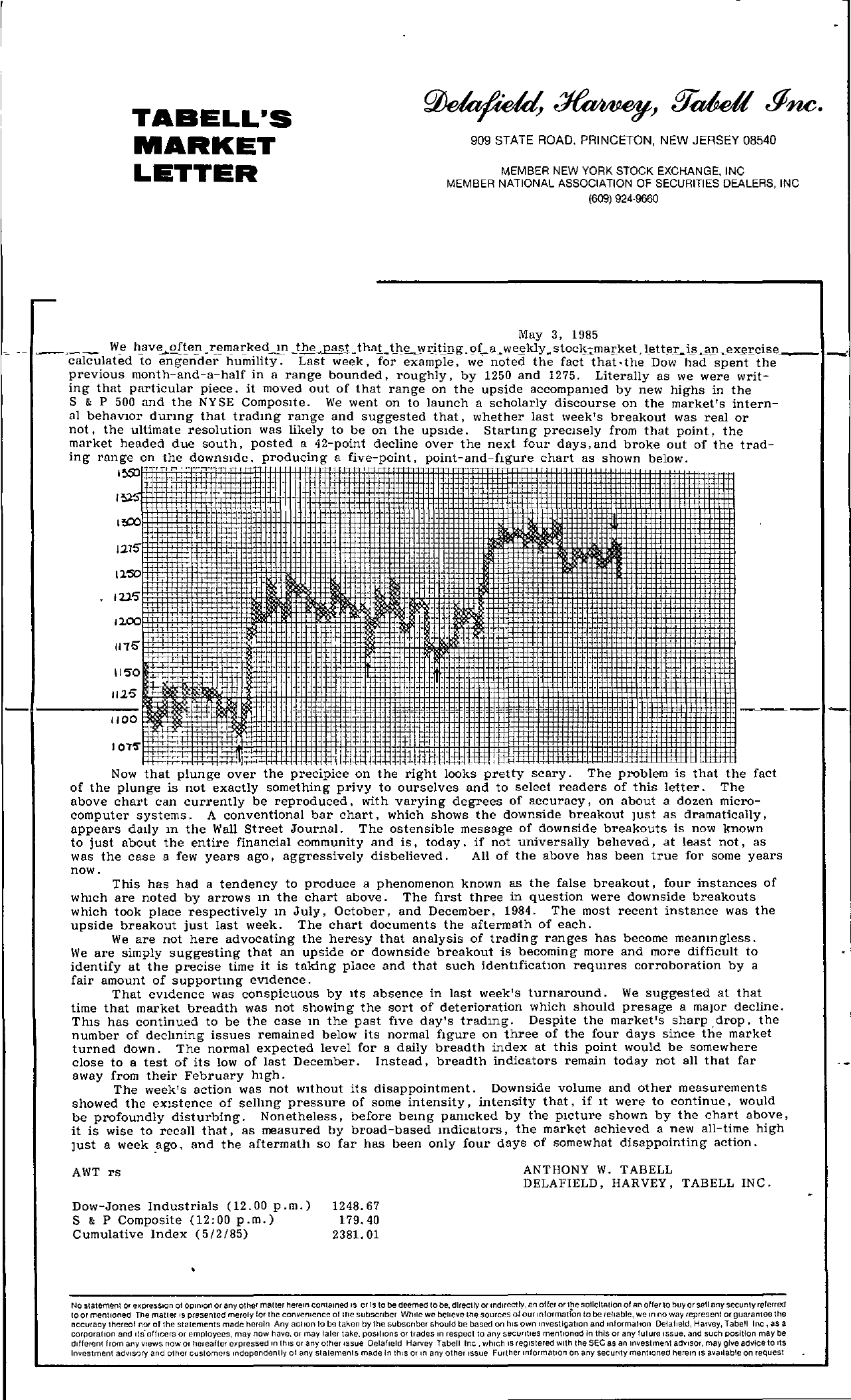Tabell's Market Letter - May 03, 1985