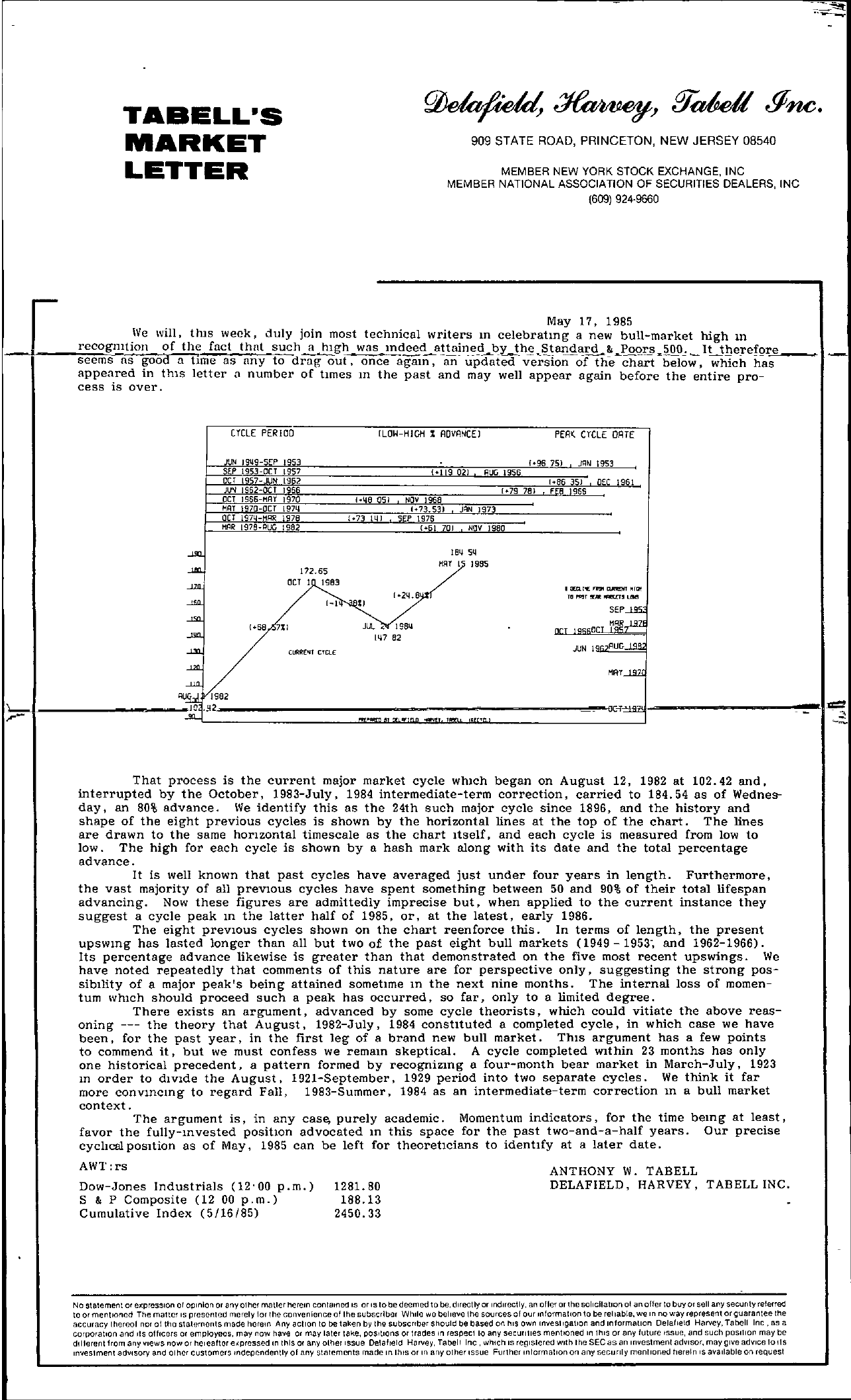 Tabell's Market Letter - May 17, 1985