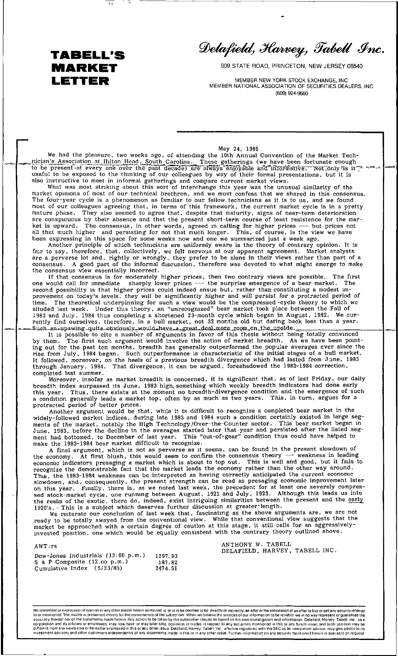 Tabell's Market Letter - May 24, 1985
