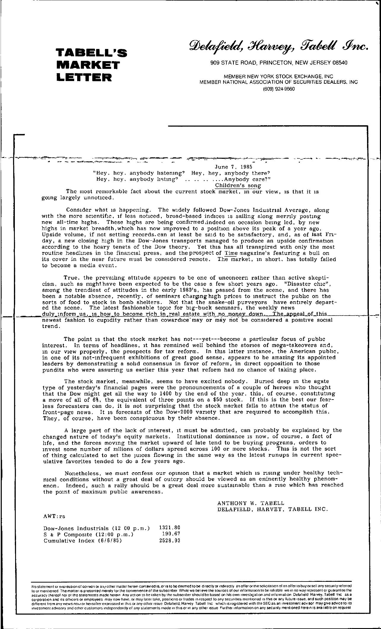 Tabell's Market Letter - June 07, 1985