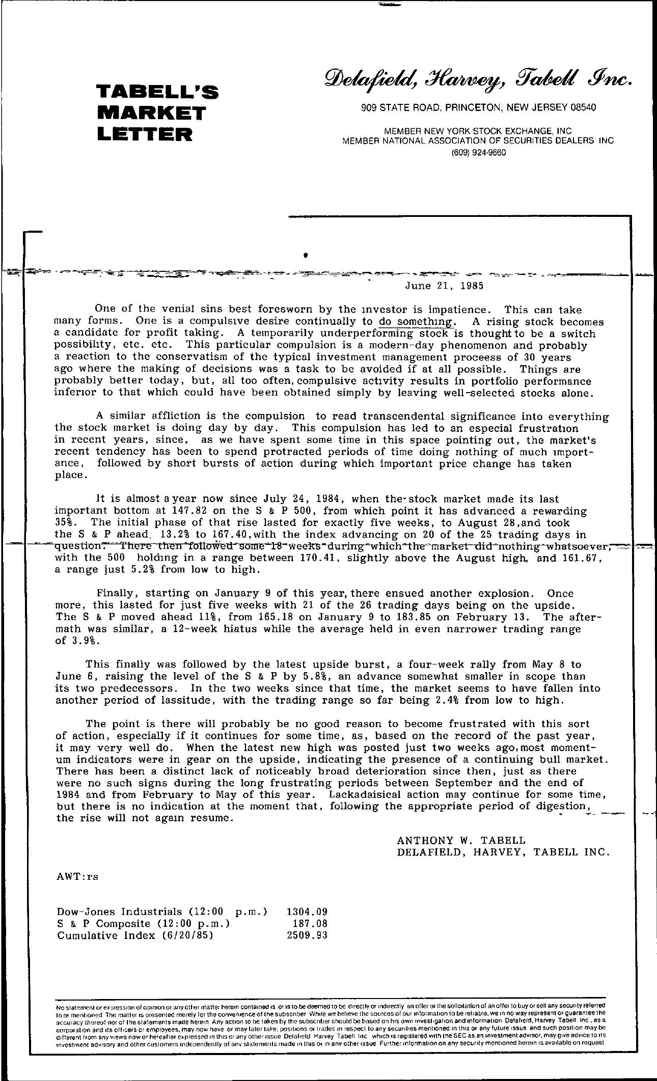 Tabell's Market Letter - June 21, 1985