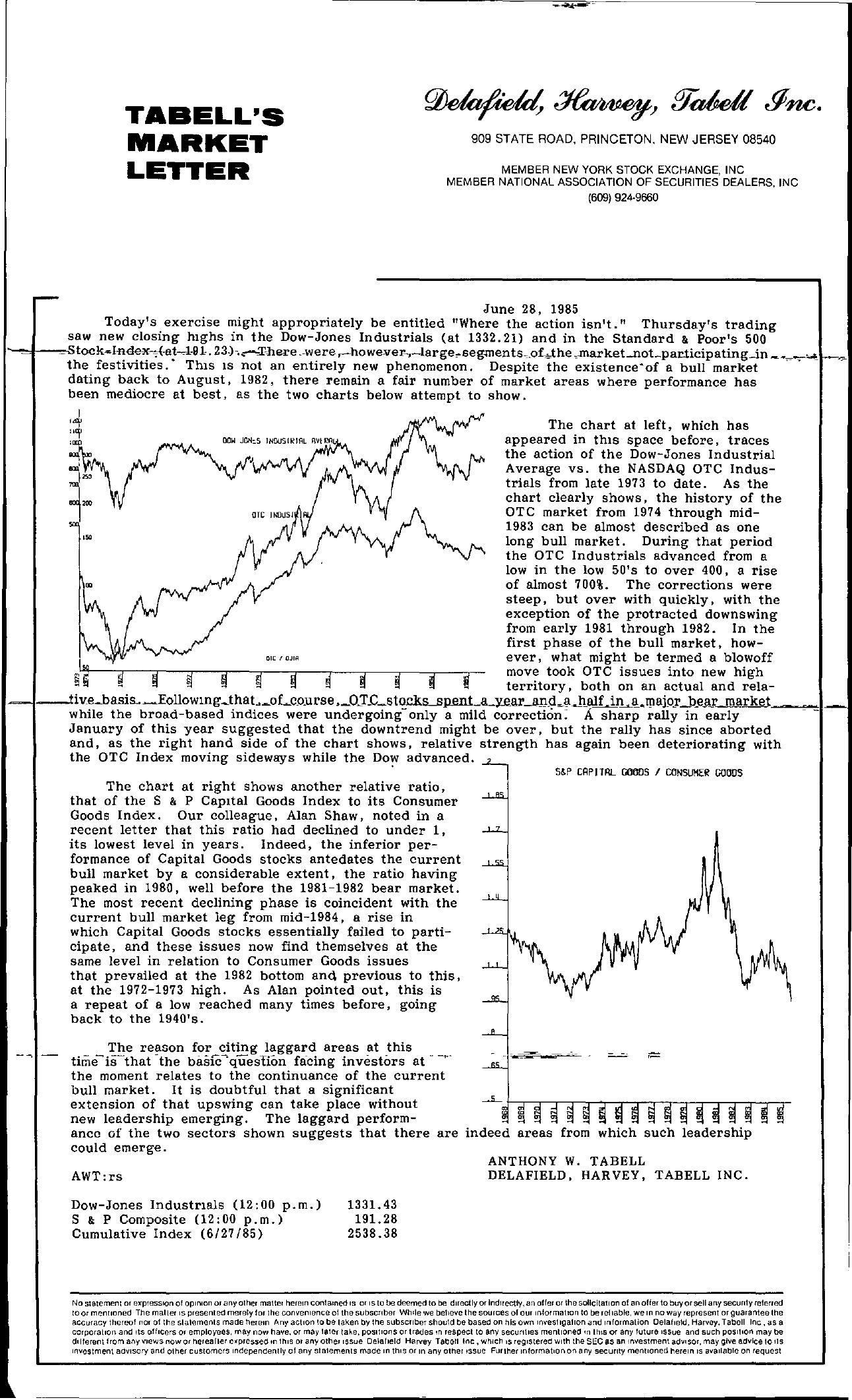 Tabell's Market Letter - June 28, 1985