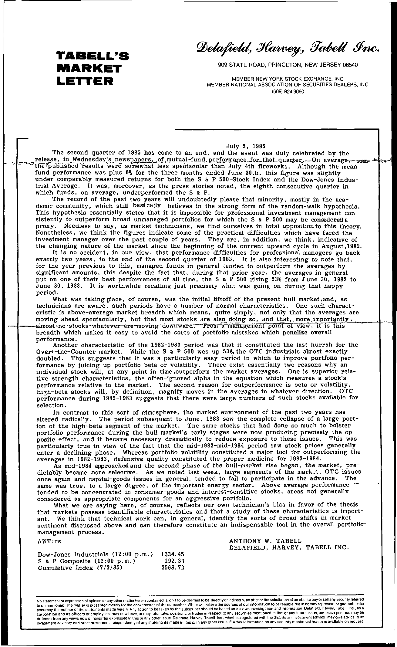 Tabell's Market Letter - July 05, 1985