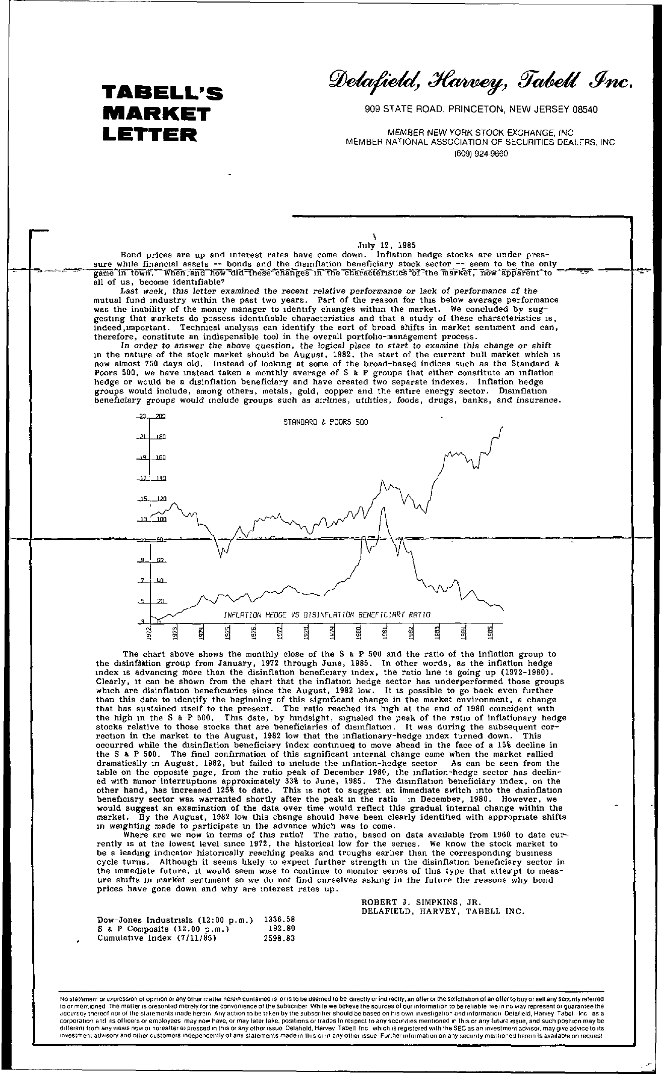 Tabell's Market Letter - July 12, 1985 page 1