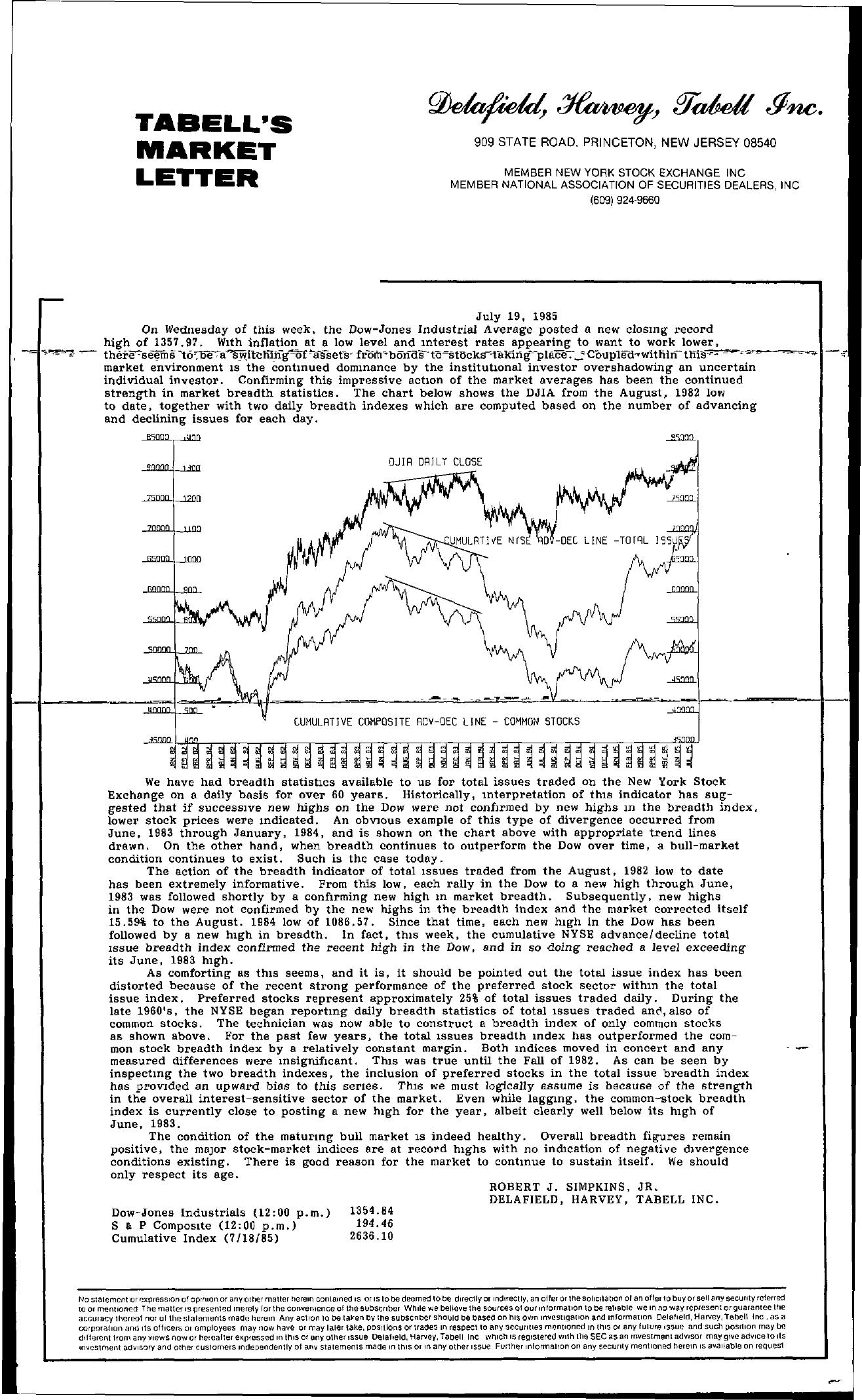 Tabell's Market Letter - July 19, 1985