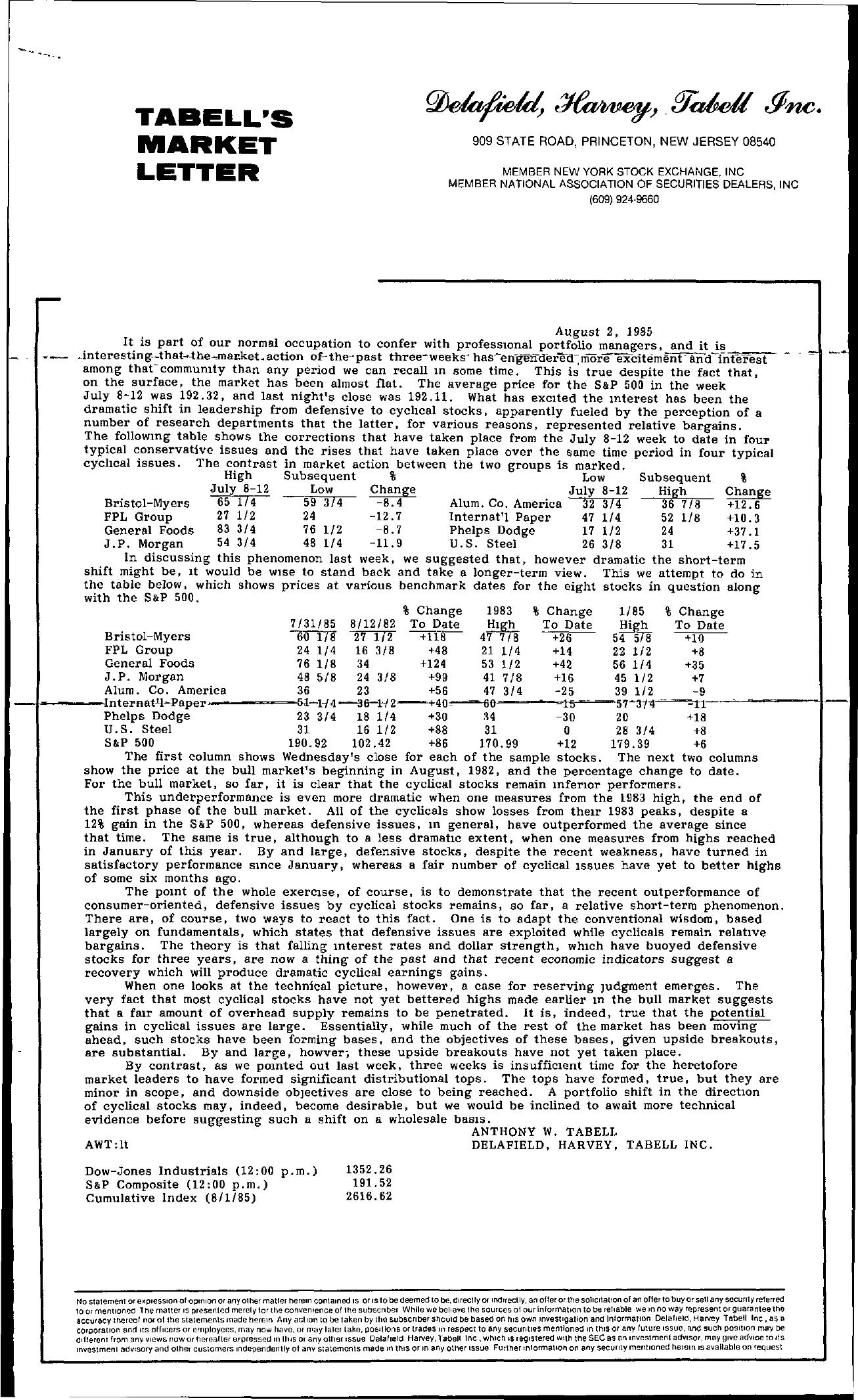 Tabell's Market Letter - August 02, 1985
