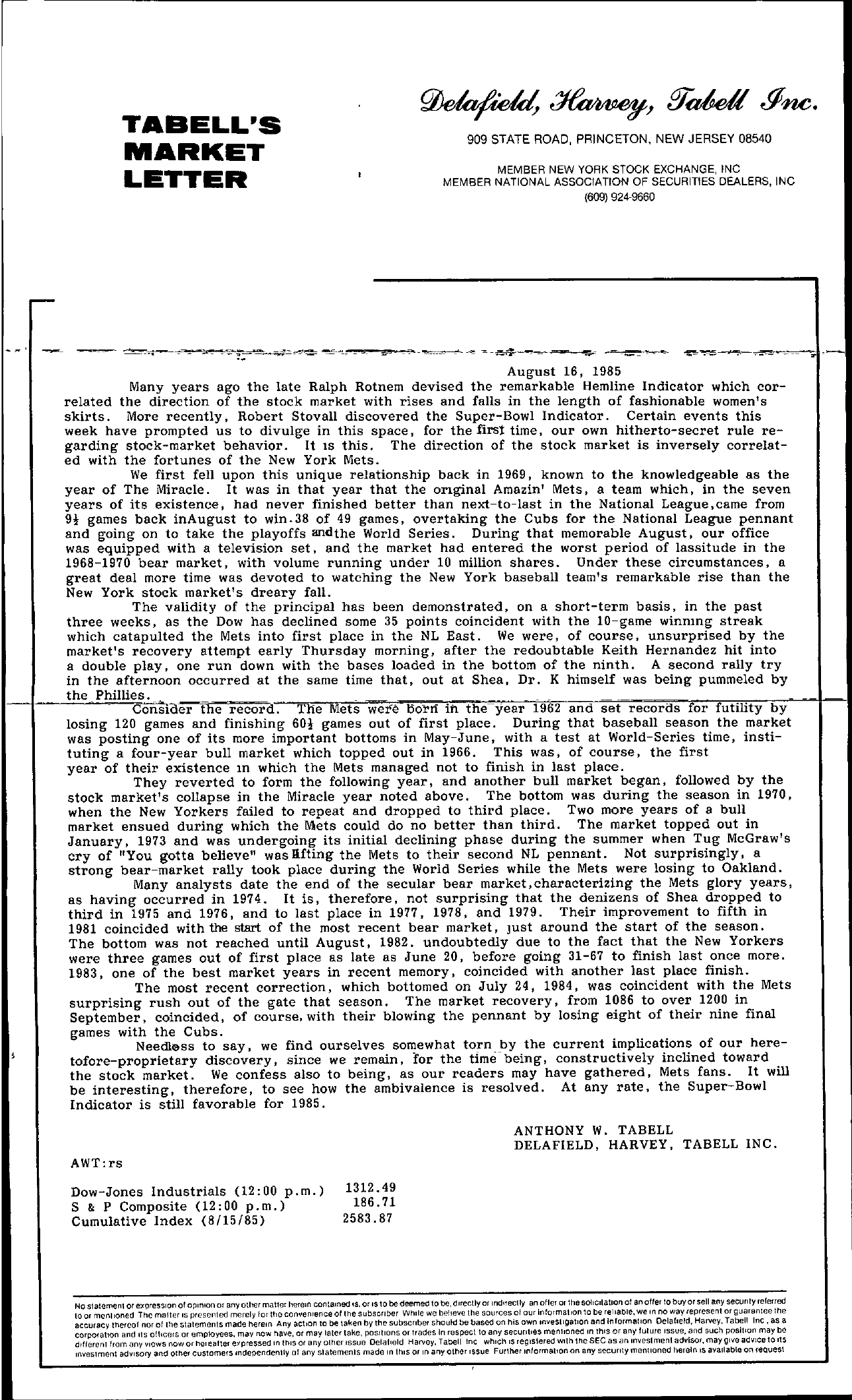 Tabell's Market Letter - August 16, 1985