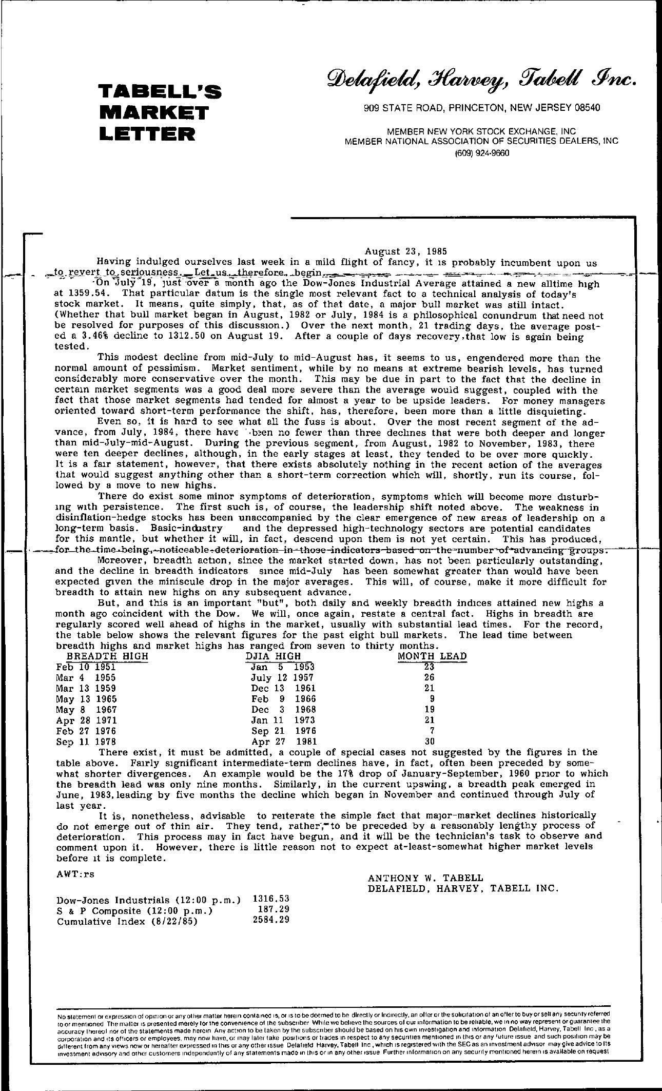 Tabell's Market Letter - August 23, 1985