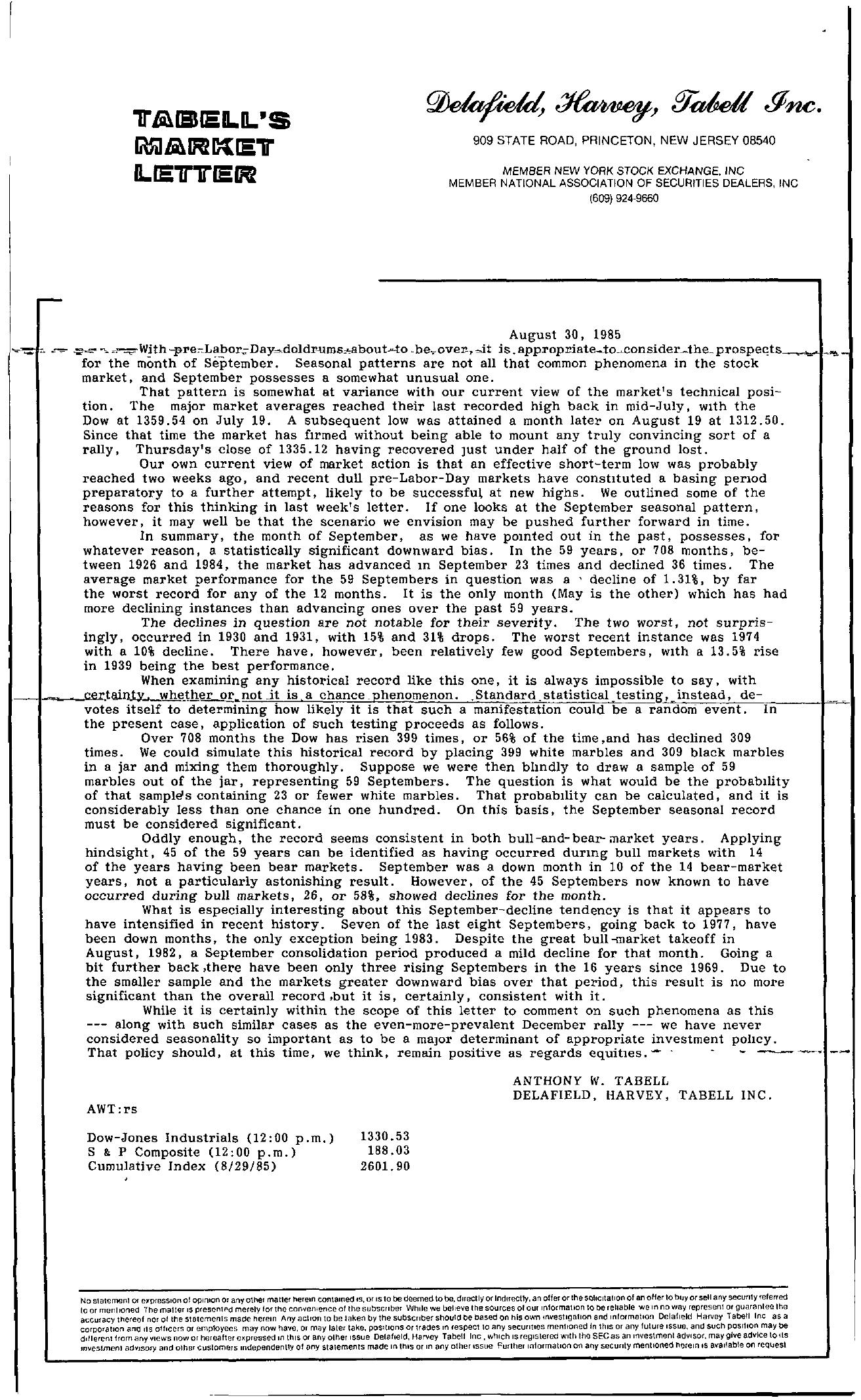 Tabell's Market Letter - August 30, 1985