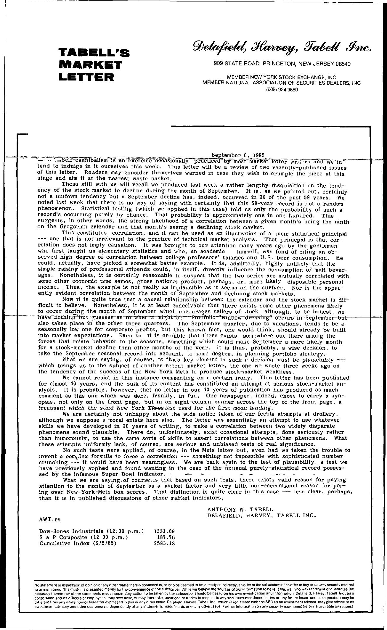 Tabell's Market Letter - September 06, 1985