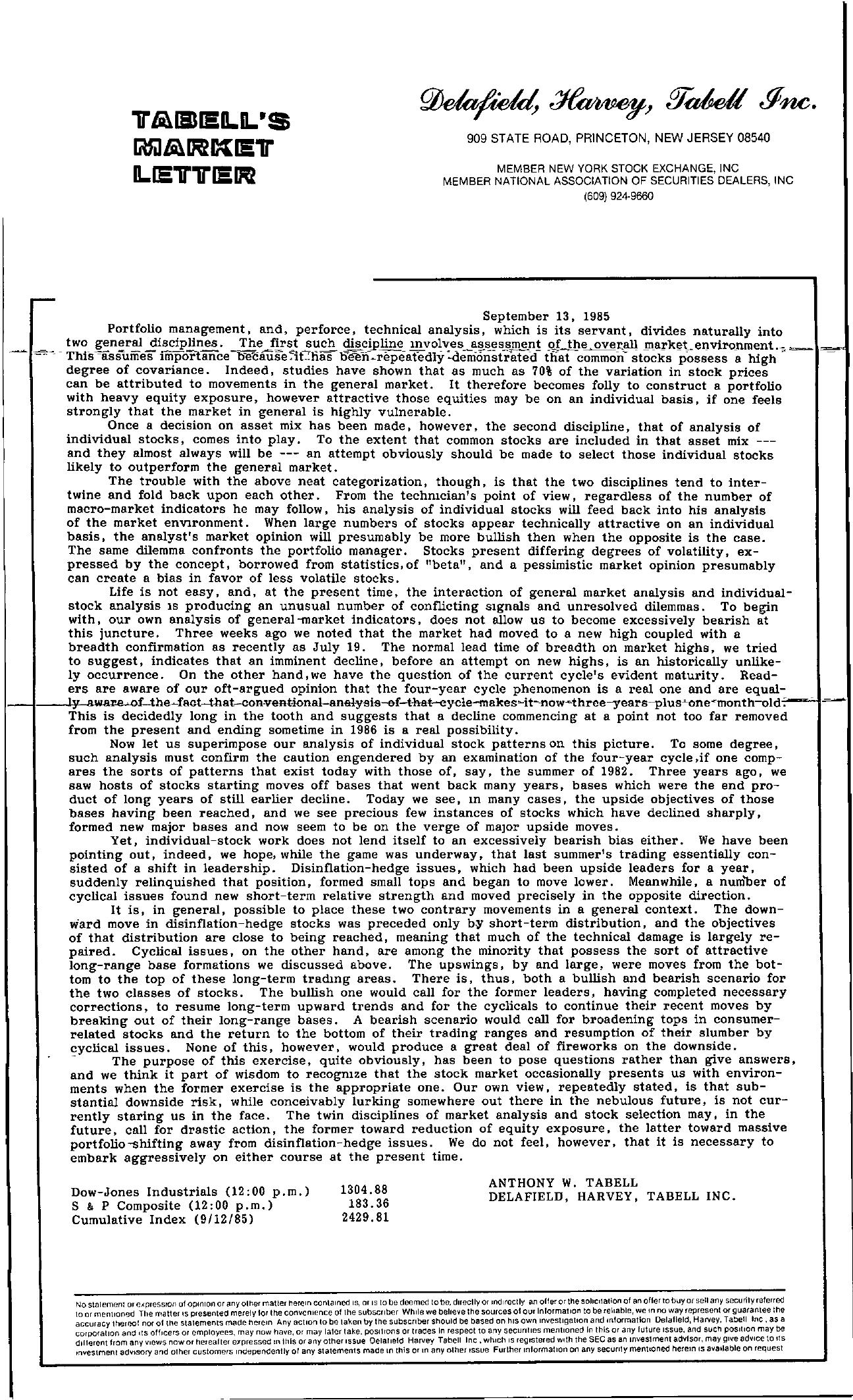 Tabell's Market Letter - September 13, 1985