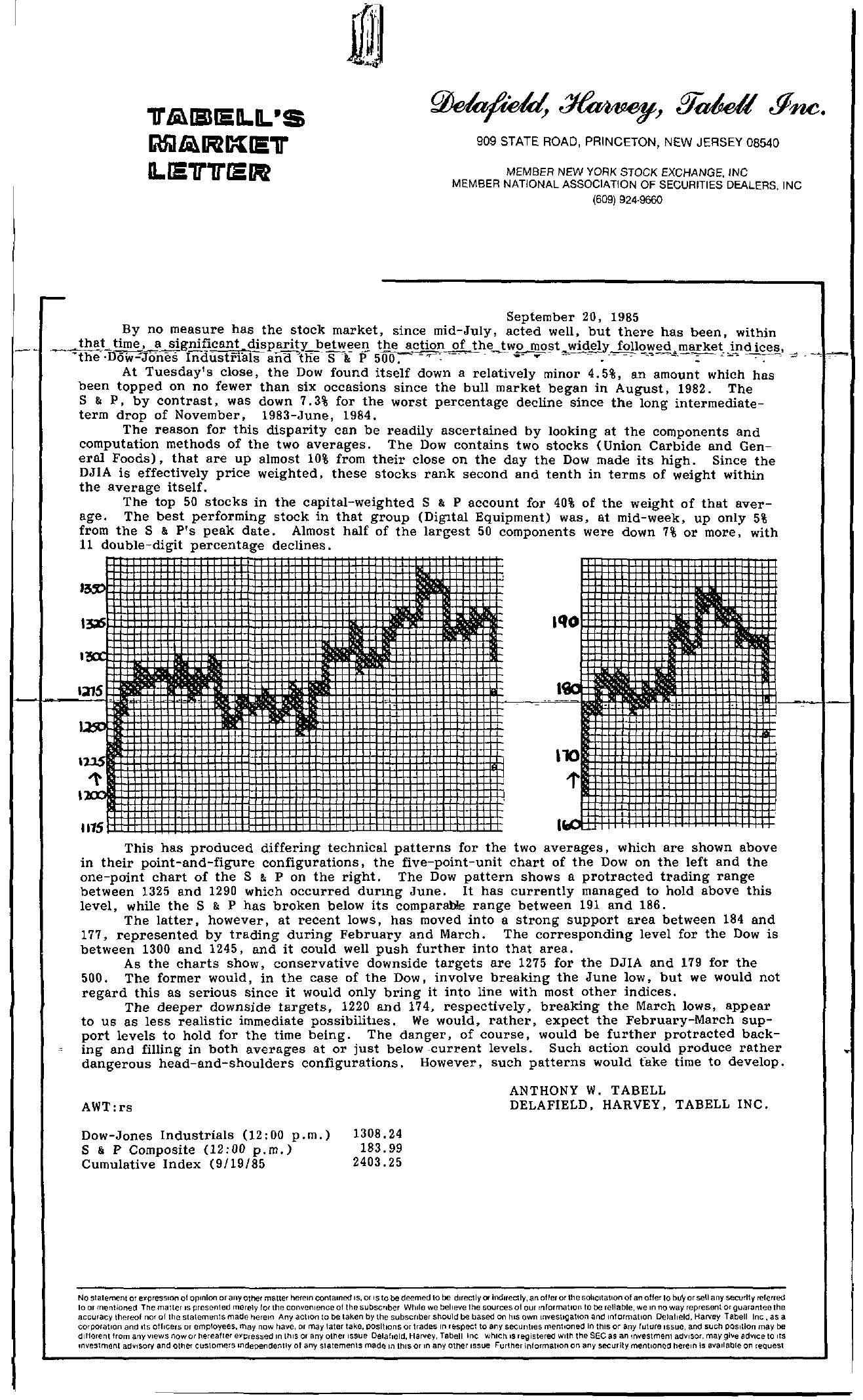 Tabell's Market Letter - September 20, 1985