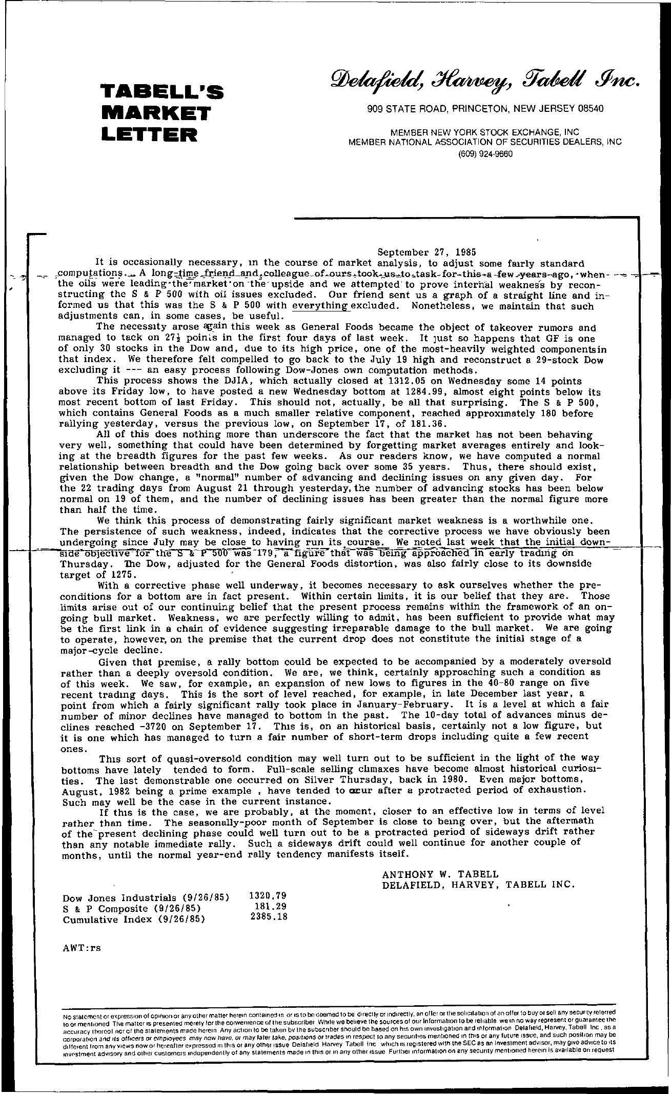 Tabell's Market Letter - September 27, 1985