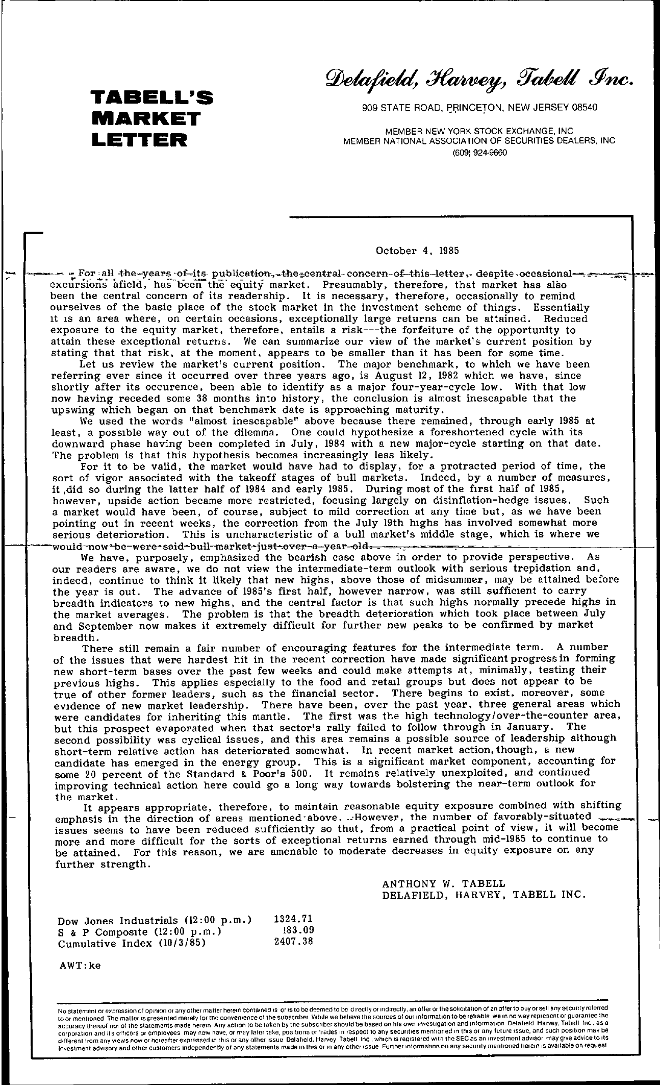 Tabell's Market Letter - October 04, 1985