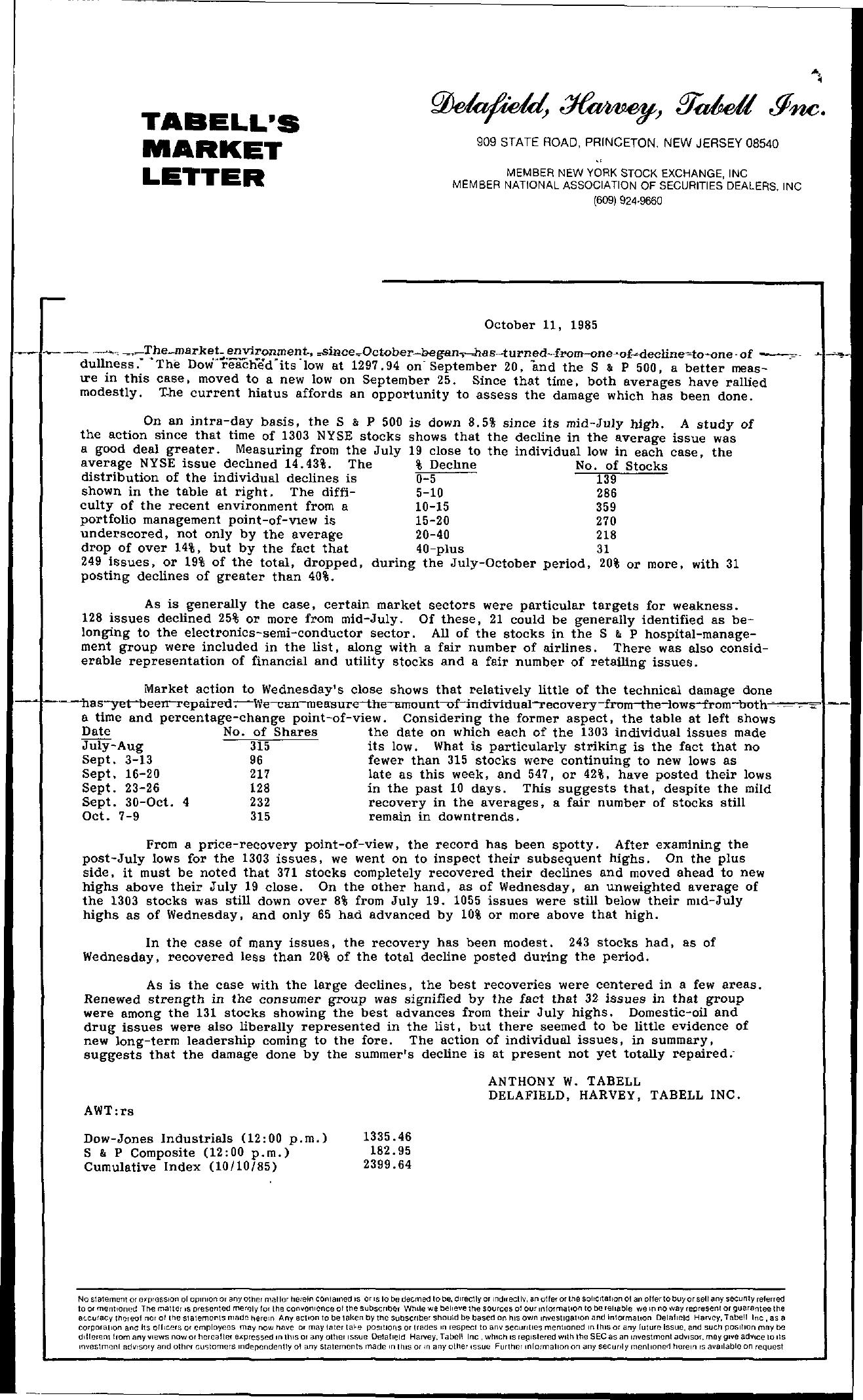 Tabell's Market Letter - October 11, 1985