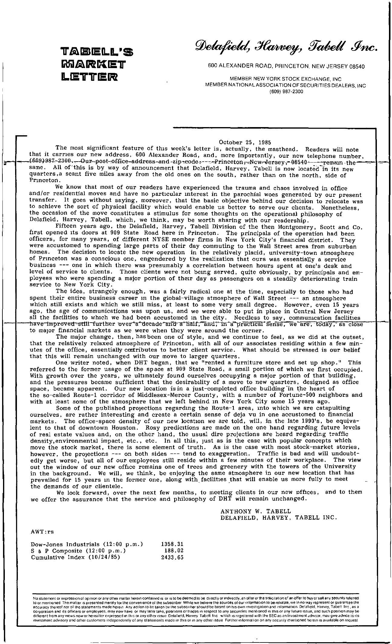 Tabell's Market Letter - October 25, 1985