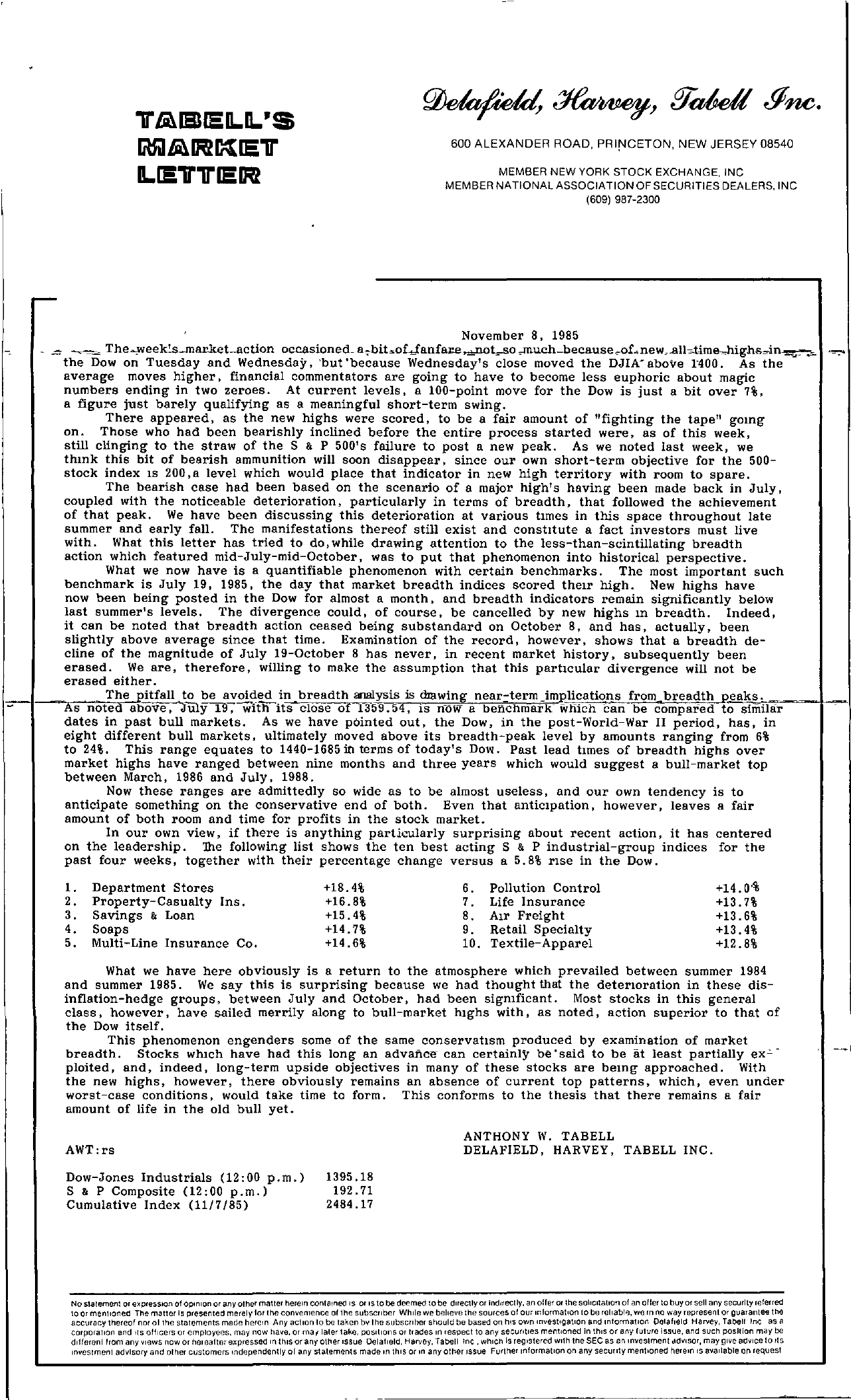 Tabell's Market Letter - November 08, 1985