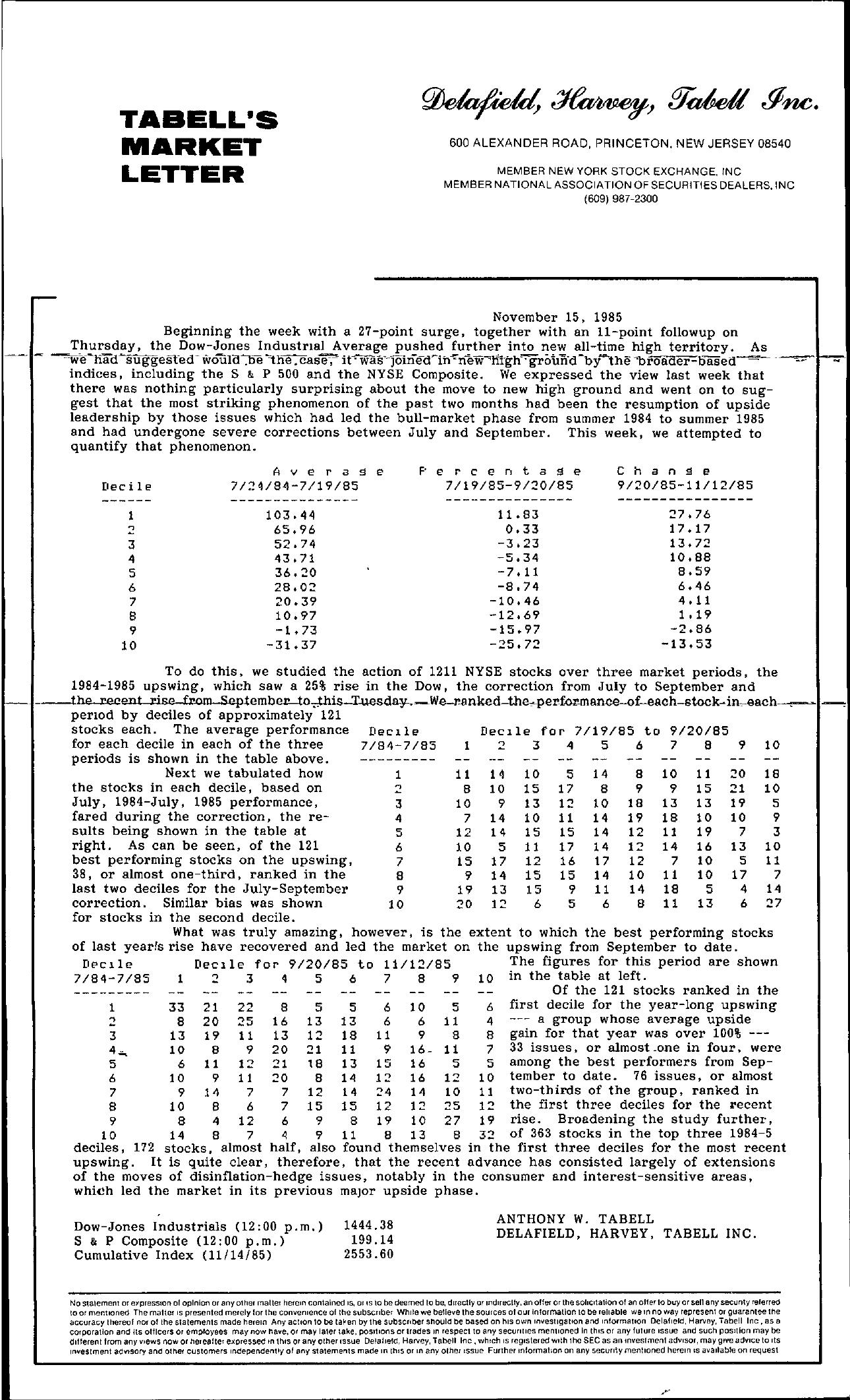 Tabell's Market Letter - November 15, 1985