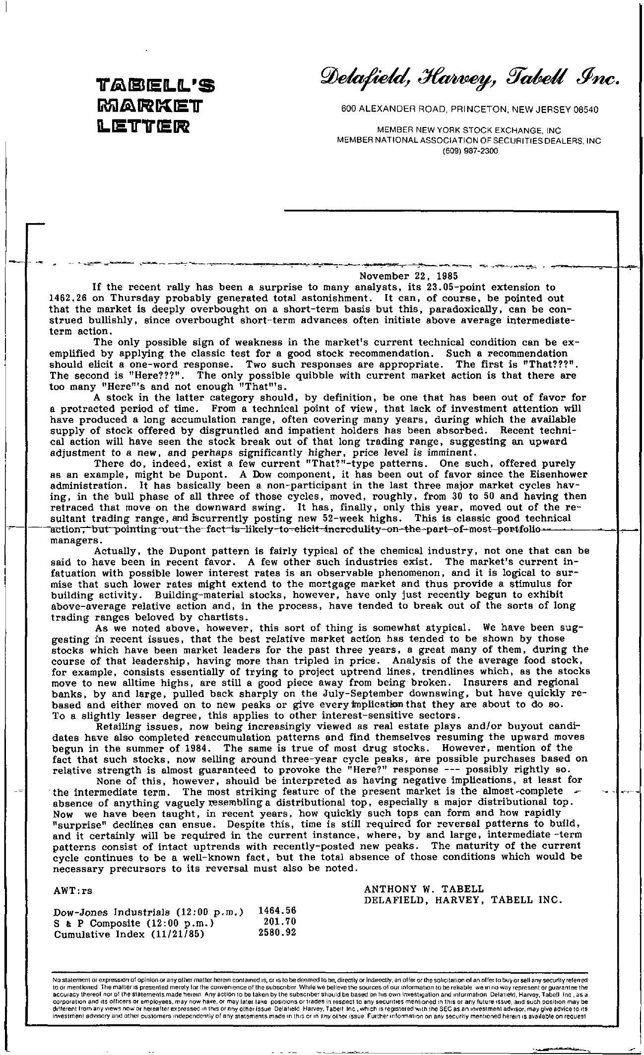 Tabell's Market Letter - November 22, 1985